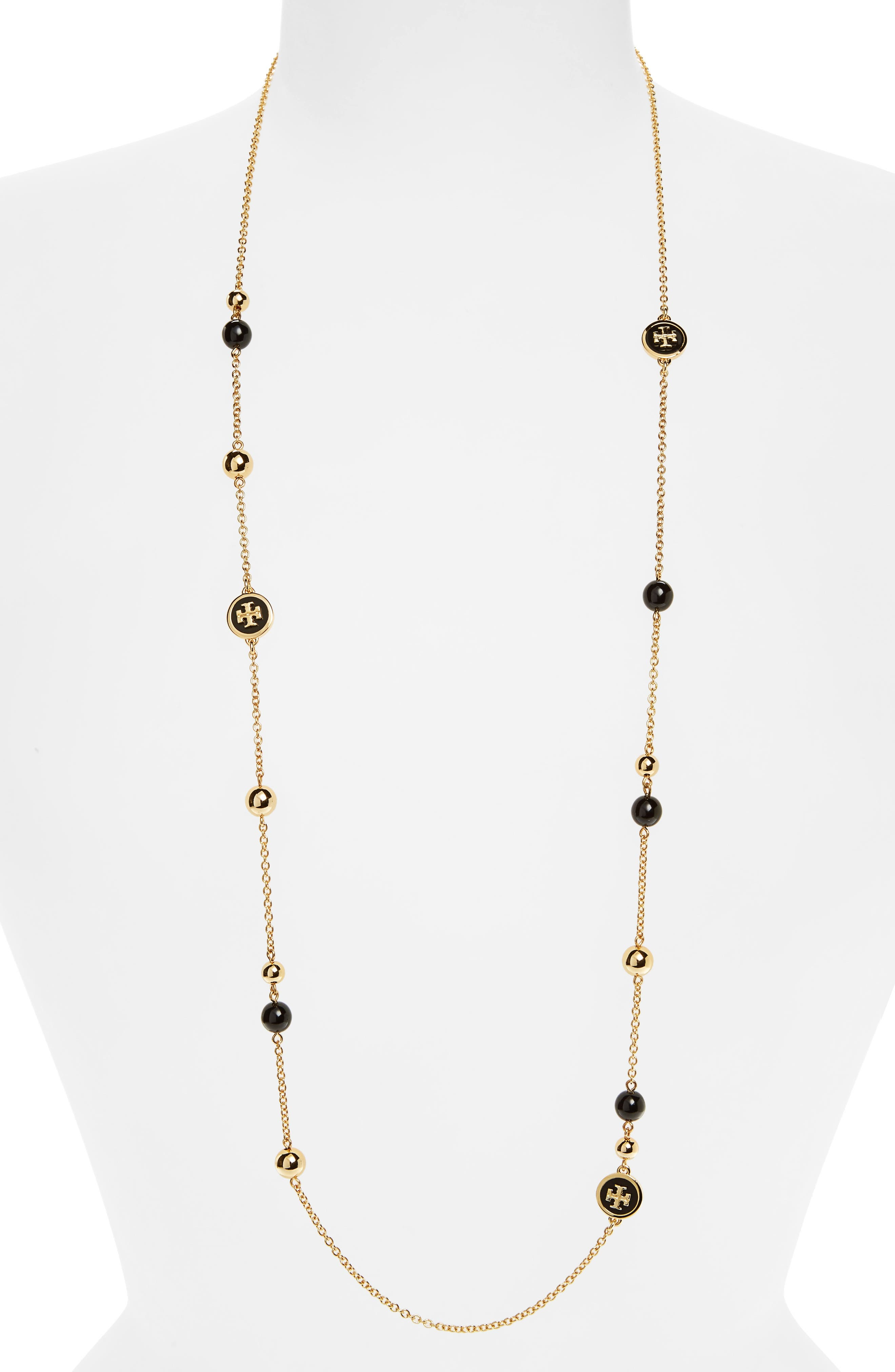 Rosary Station Necklace,                         Main,                         color, BLACK / TORY GOLD