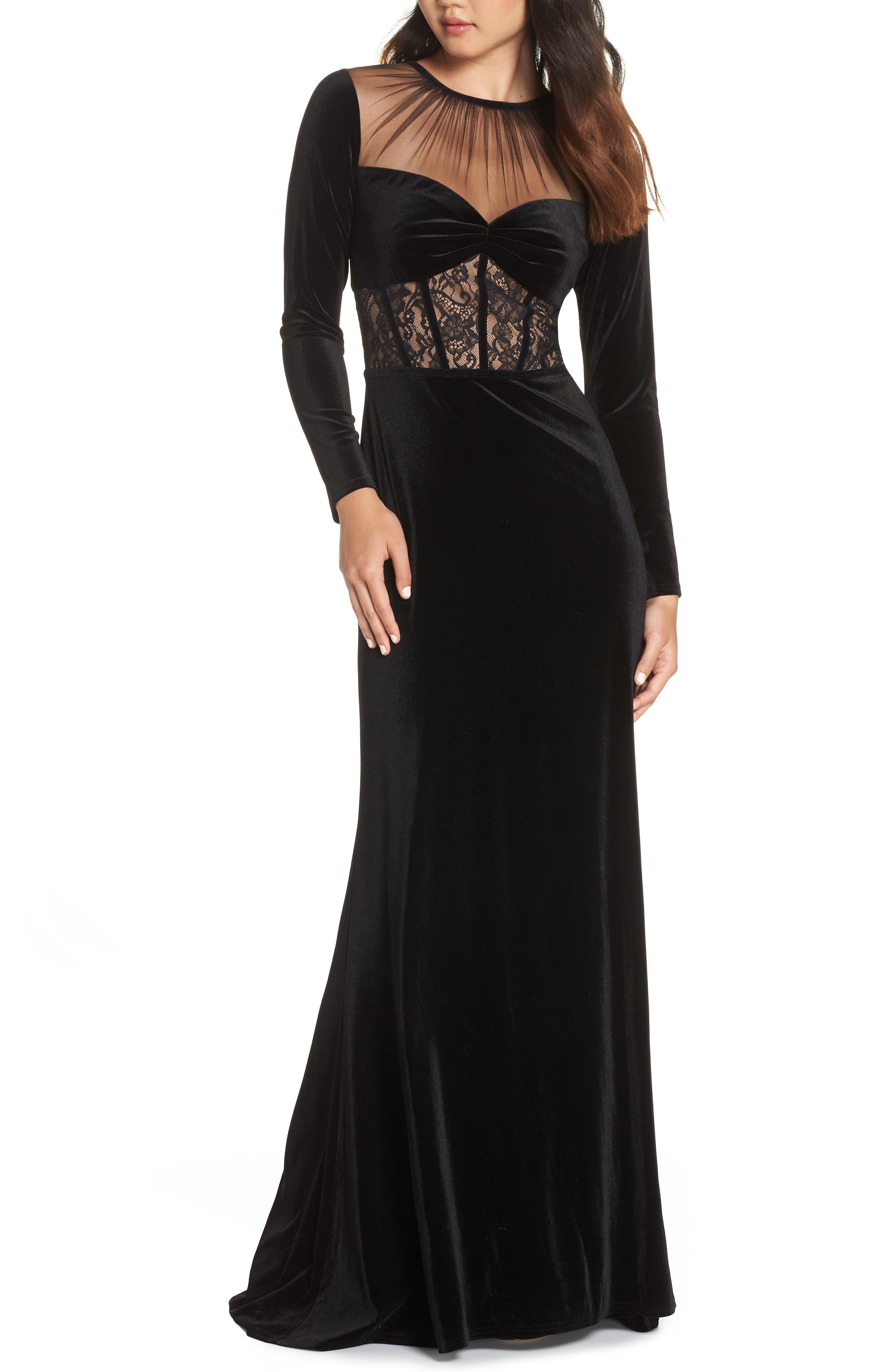 Lace & Velvet Gown,                         Main,                         color, BLACK/ NUDE