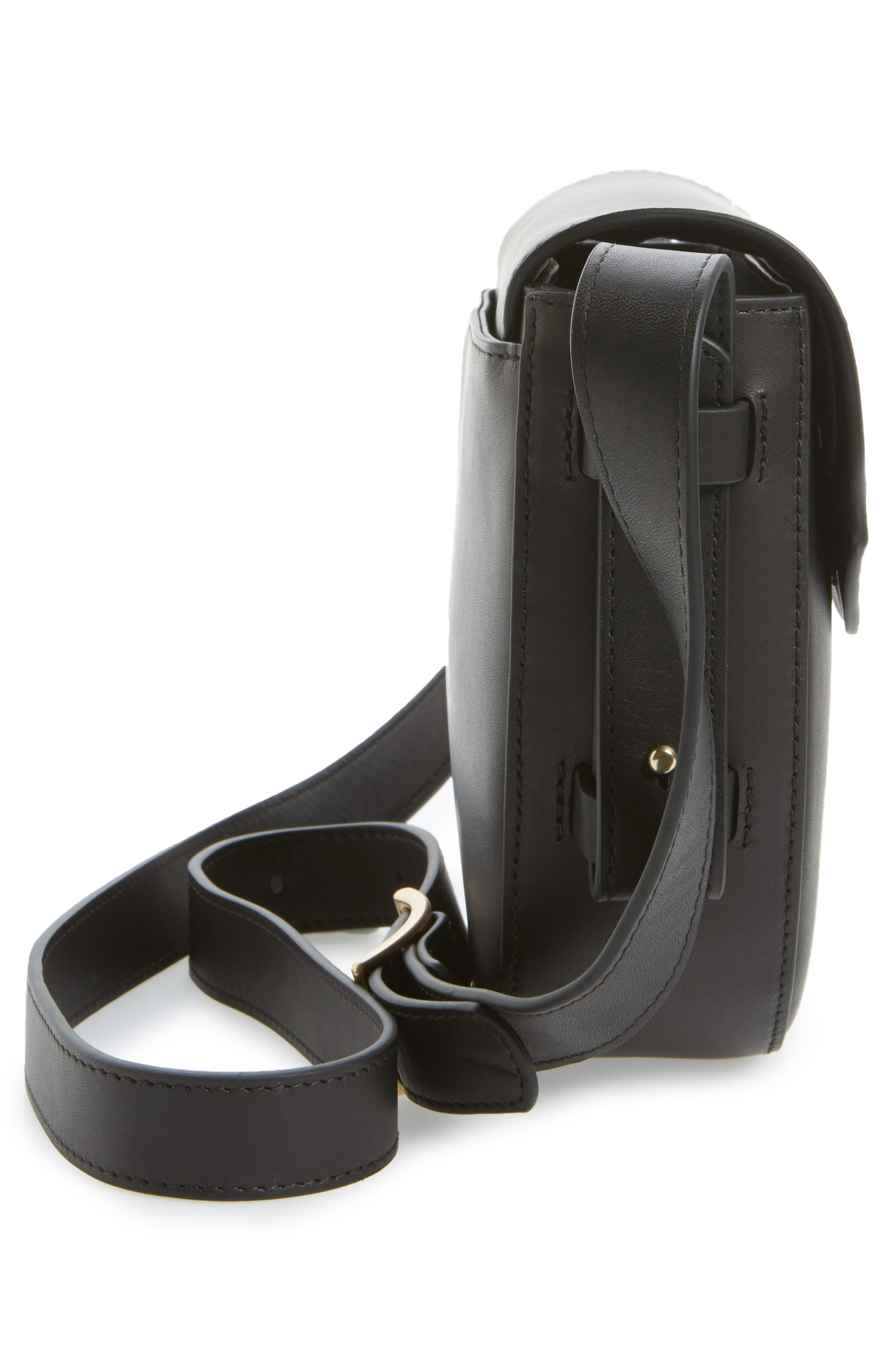 Lobelle Leather Saddle Bag,                             Alternate thumbnail 5, color,                             001