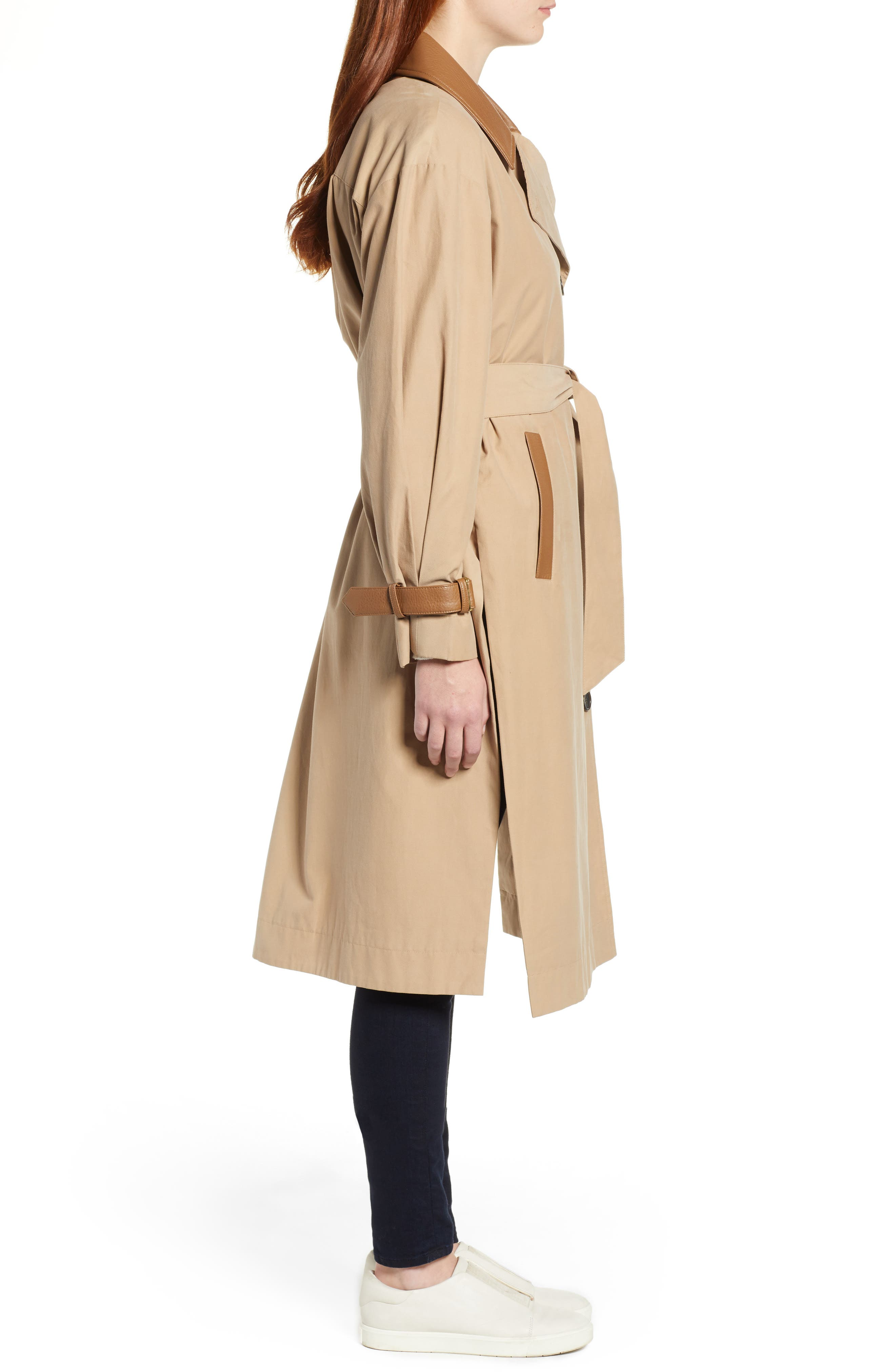 Grace Oversize Twill Trench Coat,                             Alternate thumbnail 3, color,                             SAND