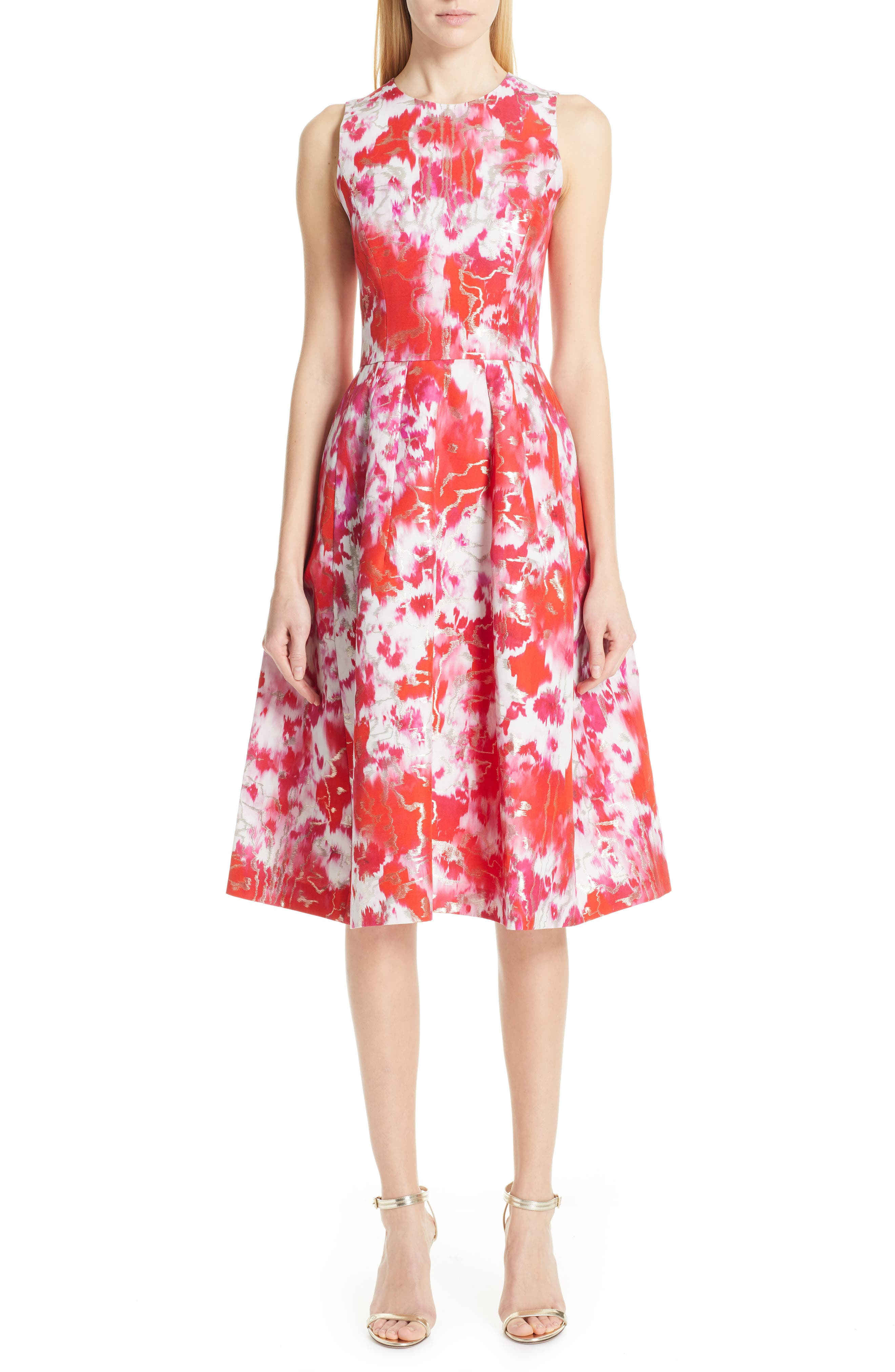 Carolina Herrera Floral Midi Cocktail Dress, Red