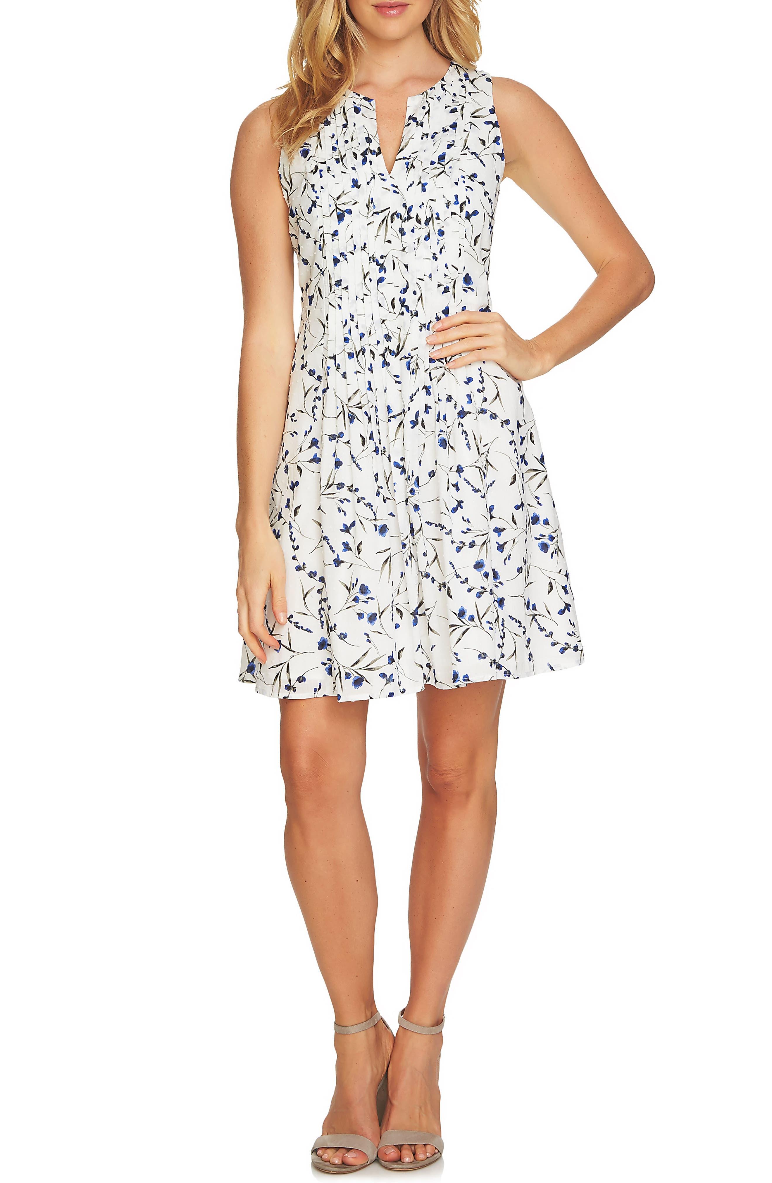 Graceful Floral Pintuck Dress,                         Main,                         color, 145