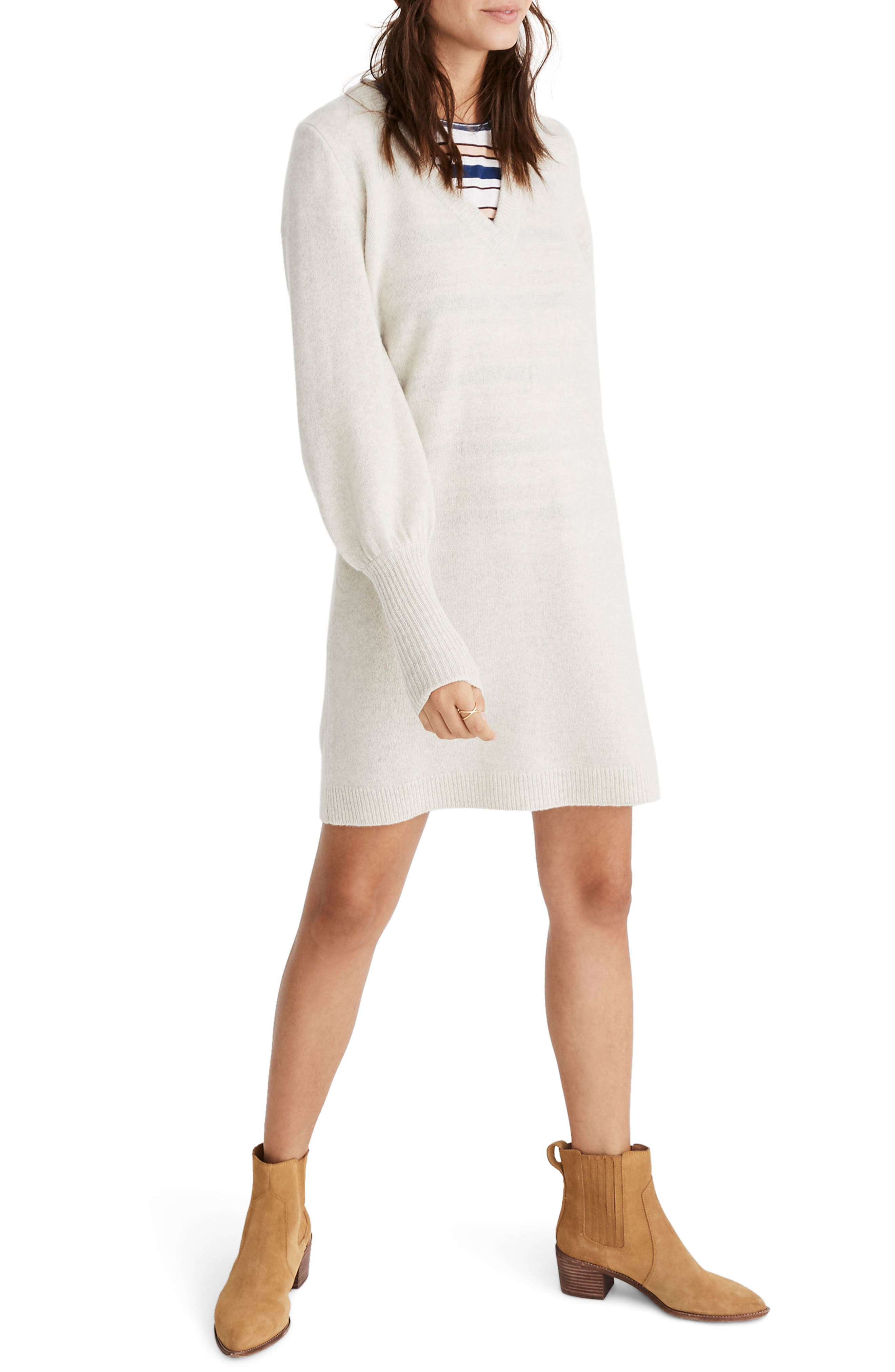 Madewell Bubble Sleeve Sweater Dress, Grey