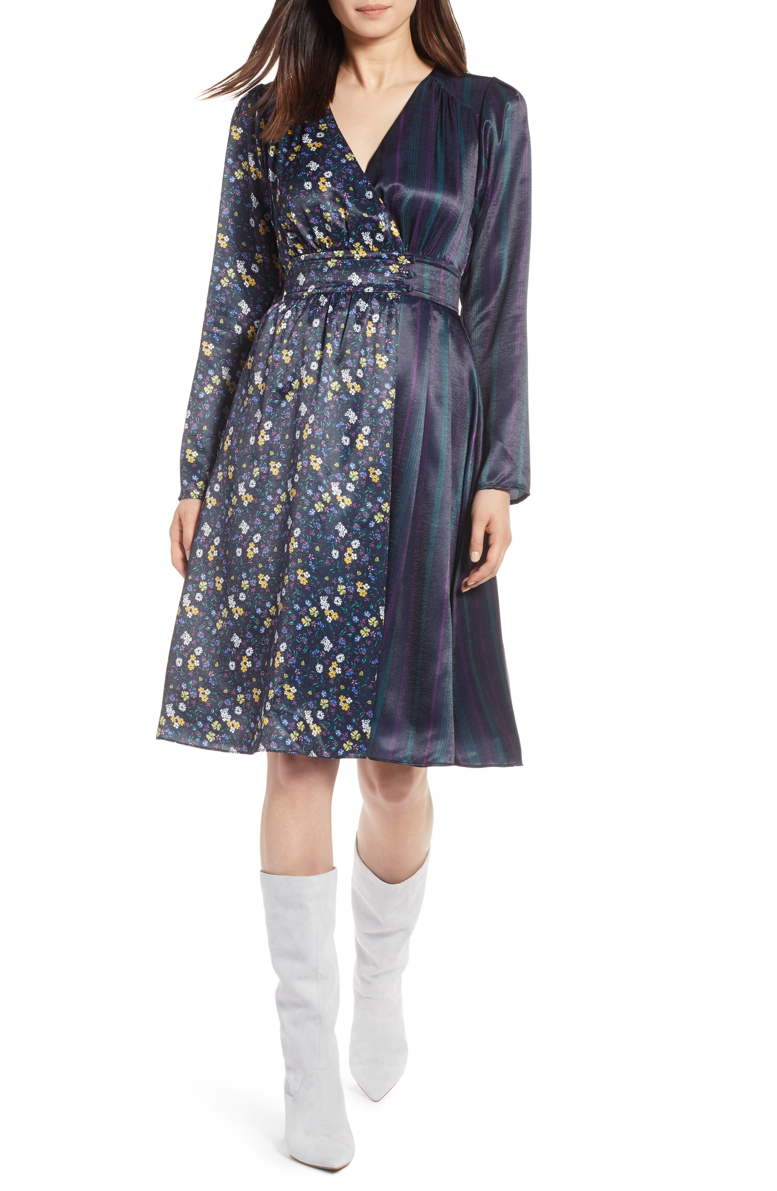 Print Satin Dress,                         Main,                         color, 410