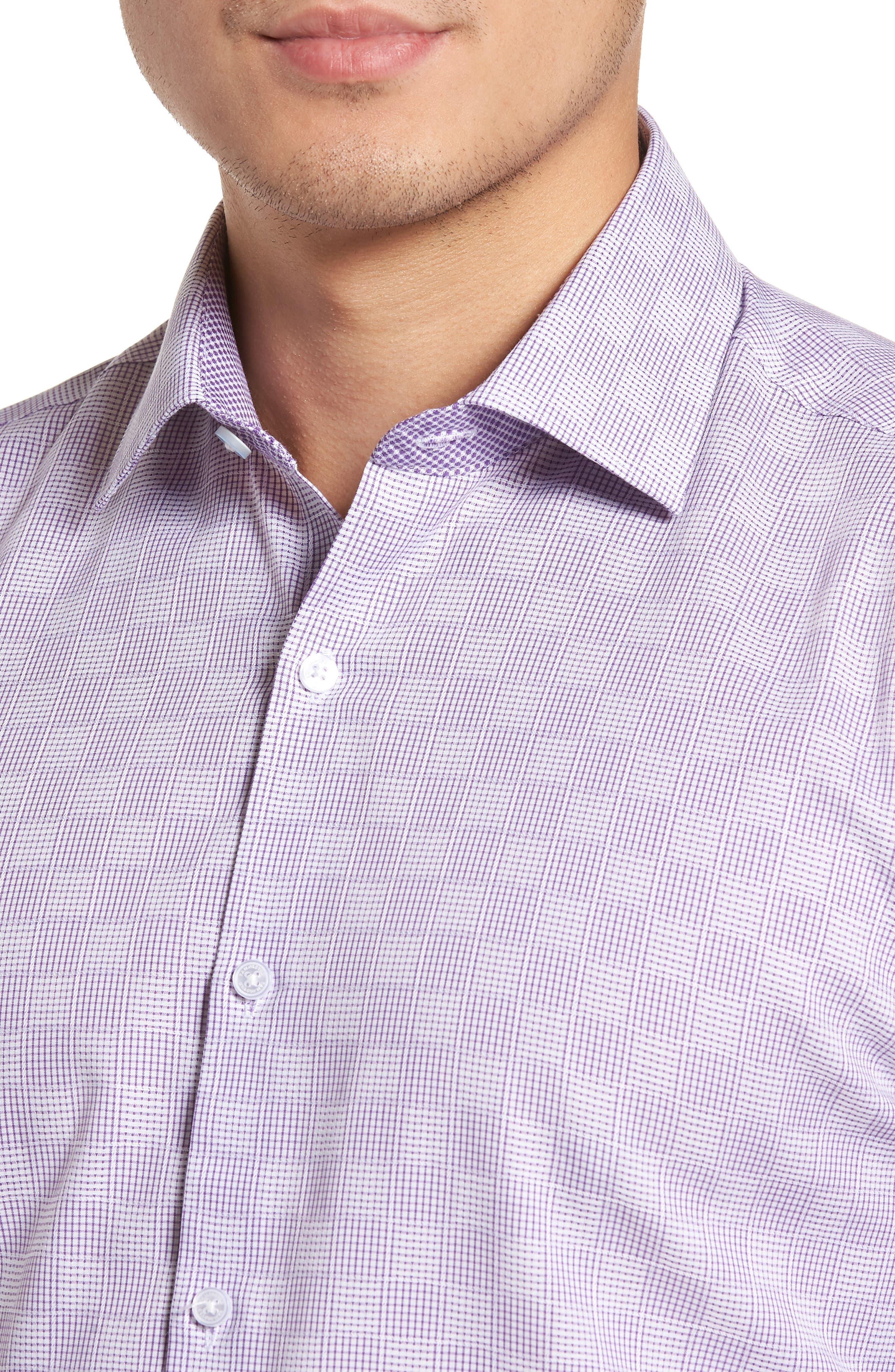 Haper Trim Fit Plaid Dress Shirt,                             Alternate thumbnail 2, color,                             PURPLE