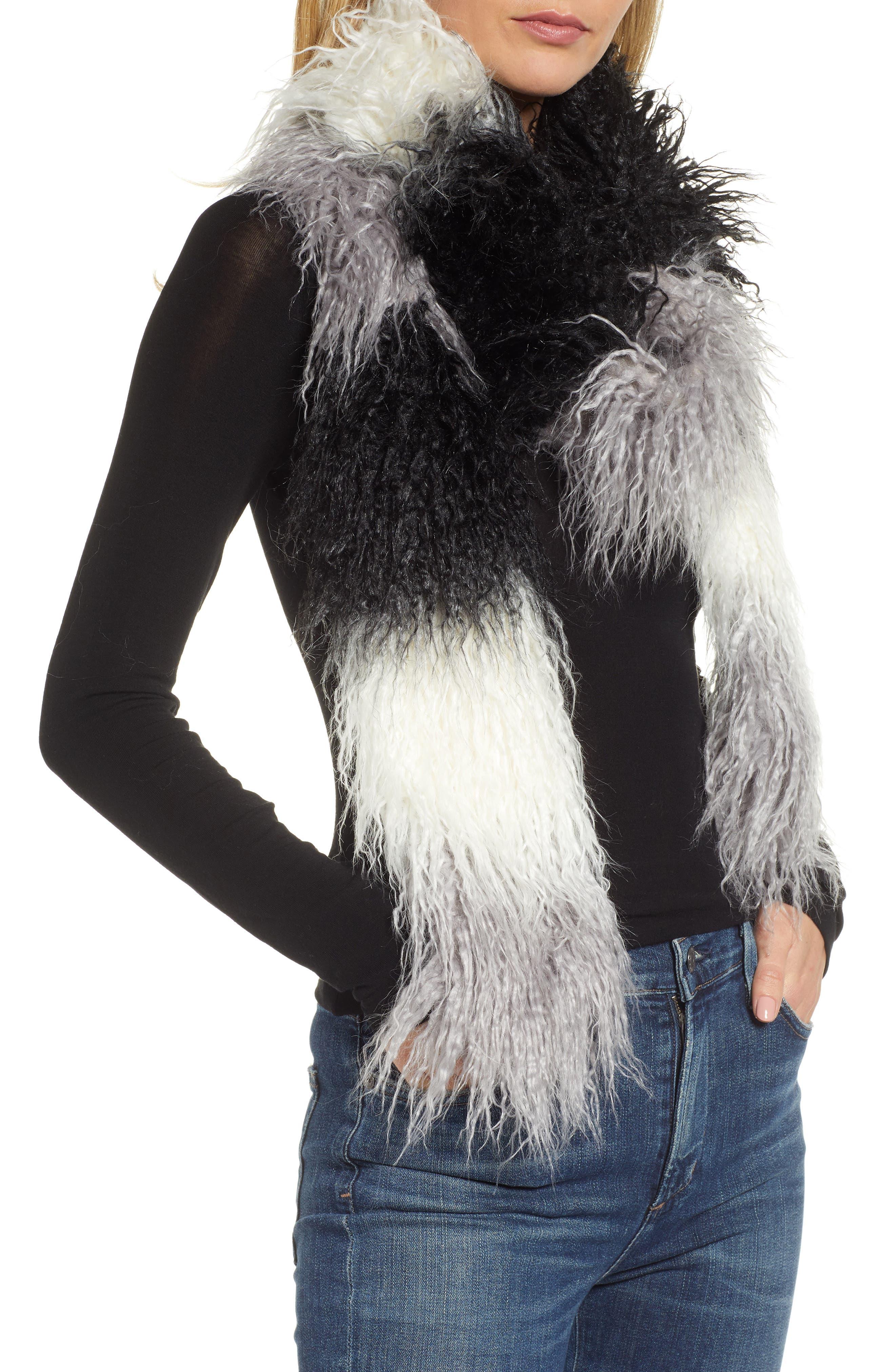 Long Faux Fur Scarf,                             Main thumbnail 1, color,                             BLACK COMBO