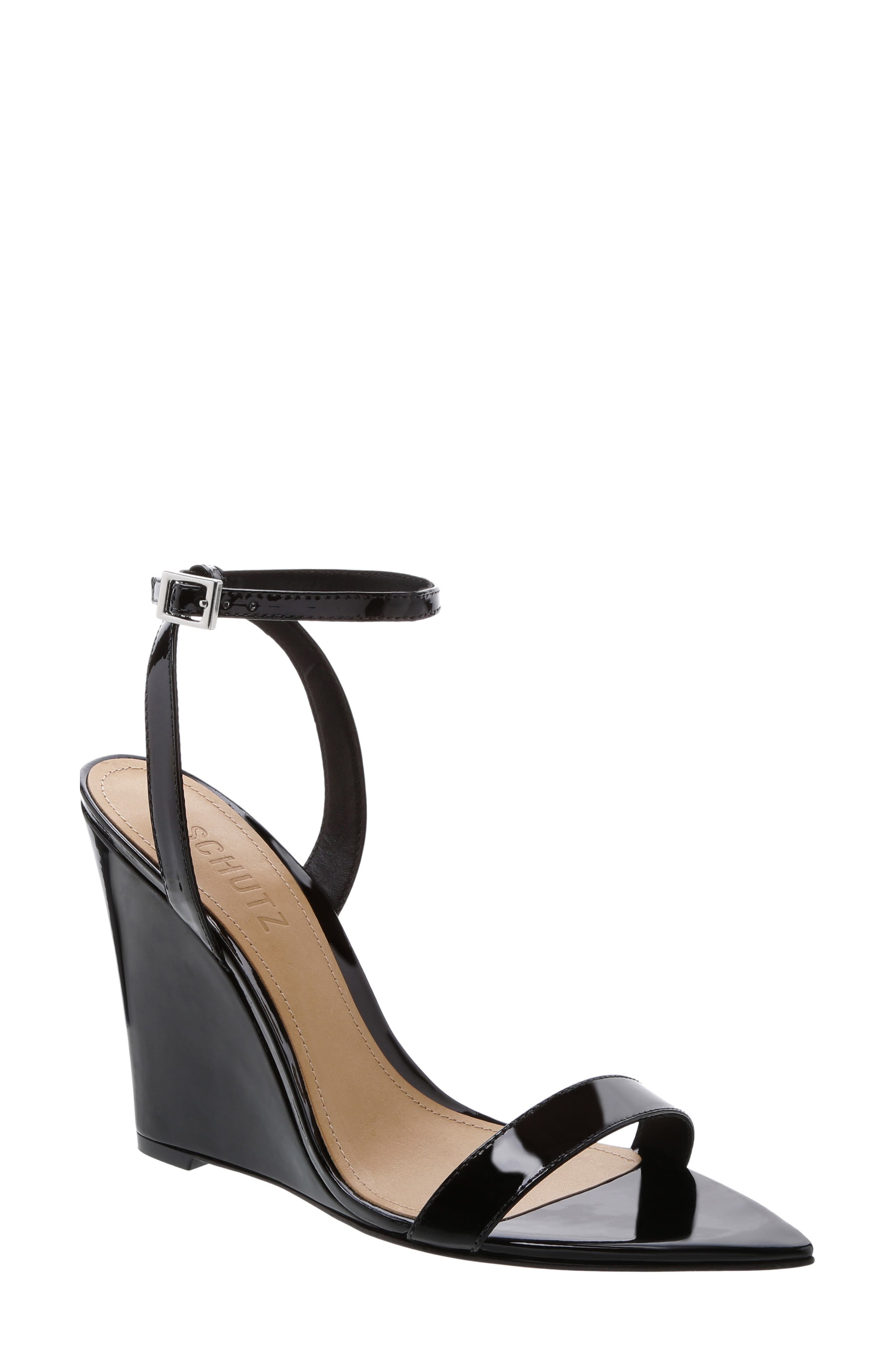Wedge Sandal, Main, color, BLACK PATENT LEATHER