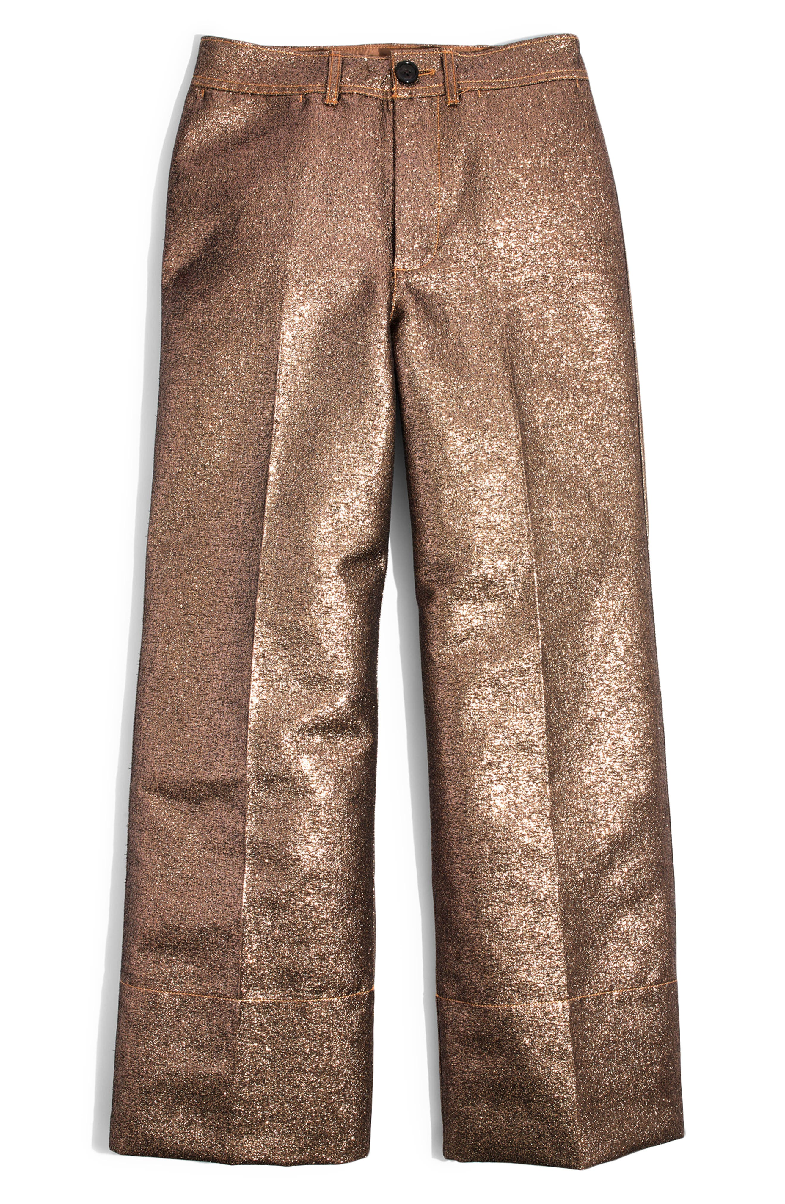 Langford Metallic Crop Wide Leg Pants,                             Alternate thumbnail 5, color,                             METALLIC SAND
