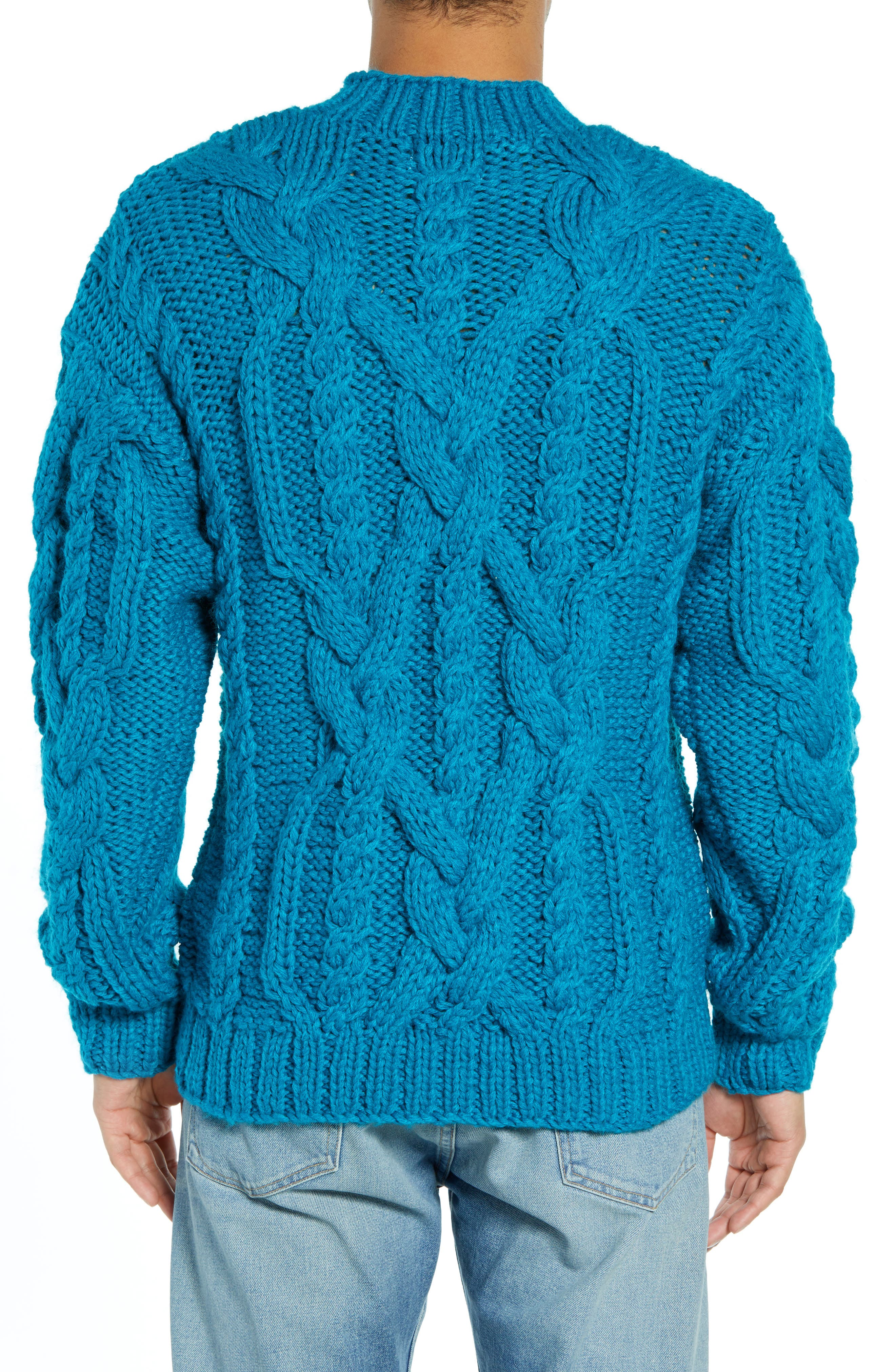 Classic Cable Knit Sweater,                             Alternate thumbnail 2, color,                             BLUE