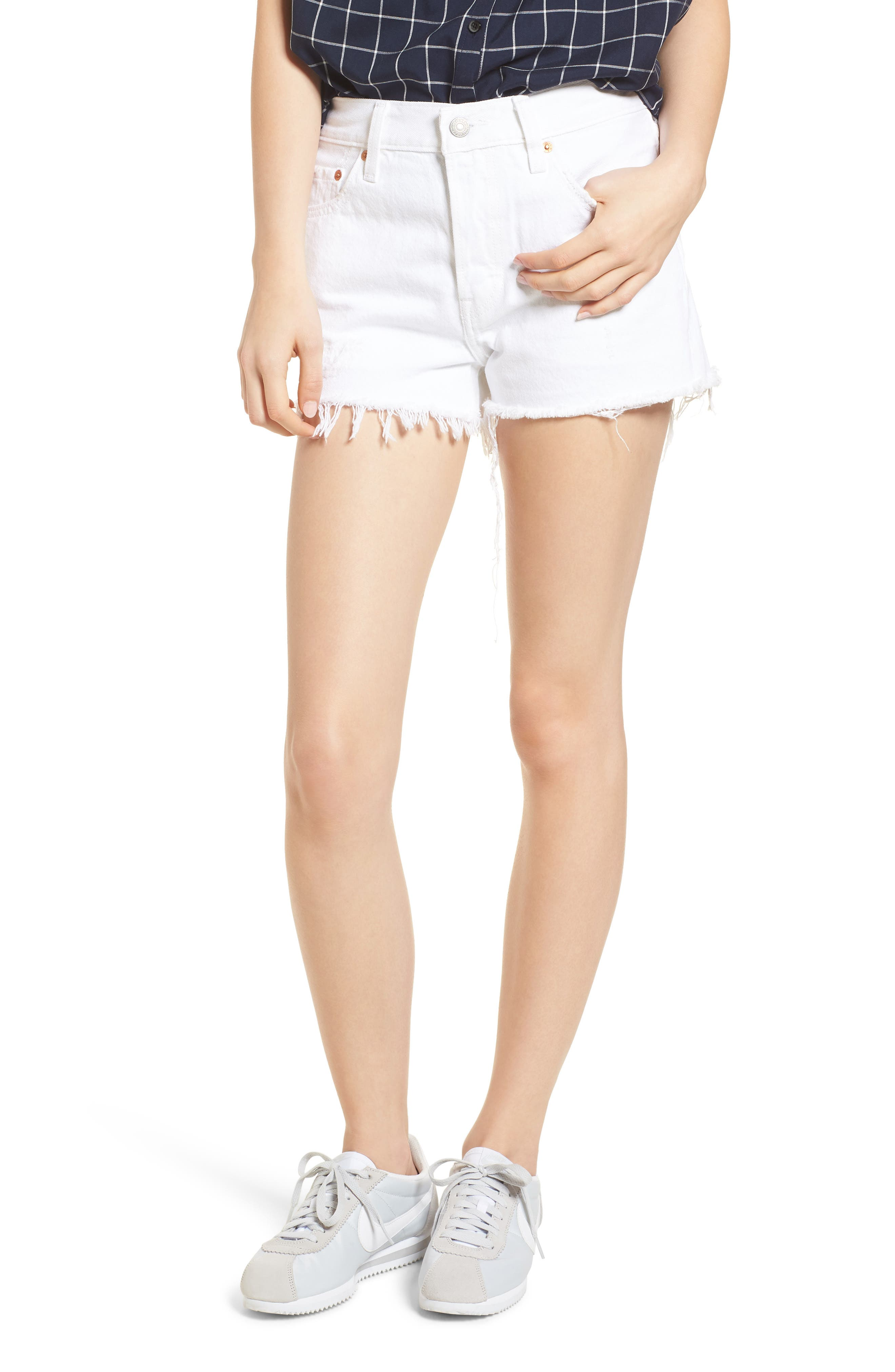 LEVI'S<SUP>®</SUP>,                             501<sup>®</sup> Cutoff Denim Shorts,                             Main thumbnail 1, color,                             101
