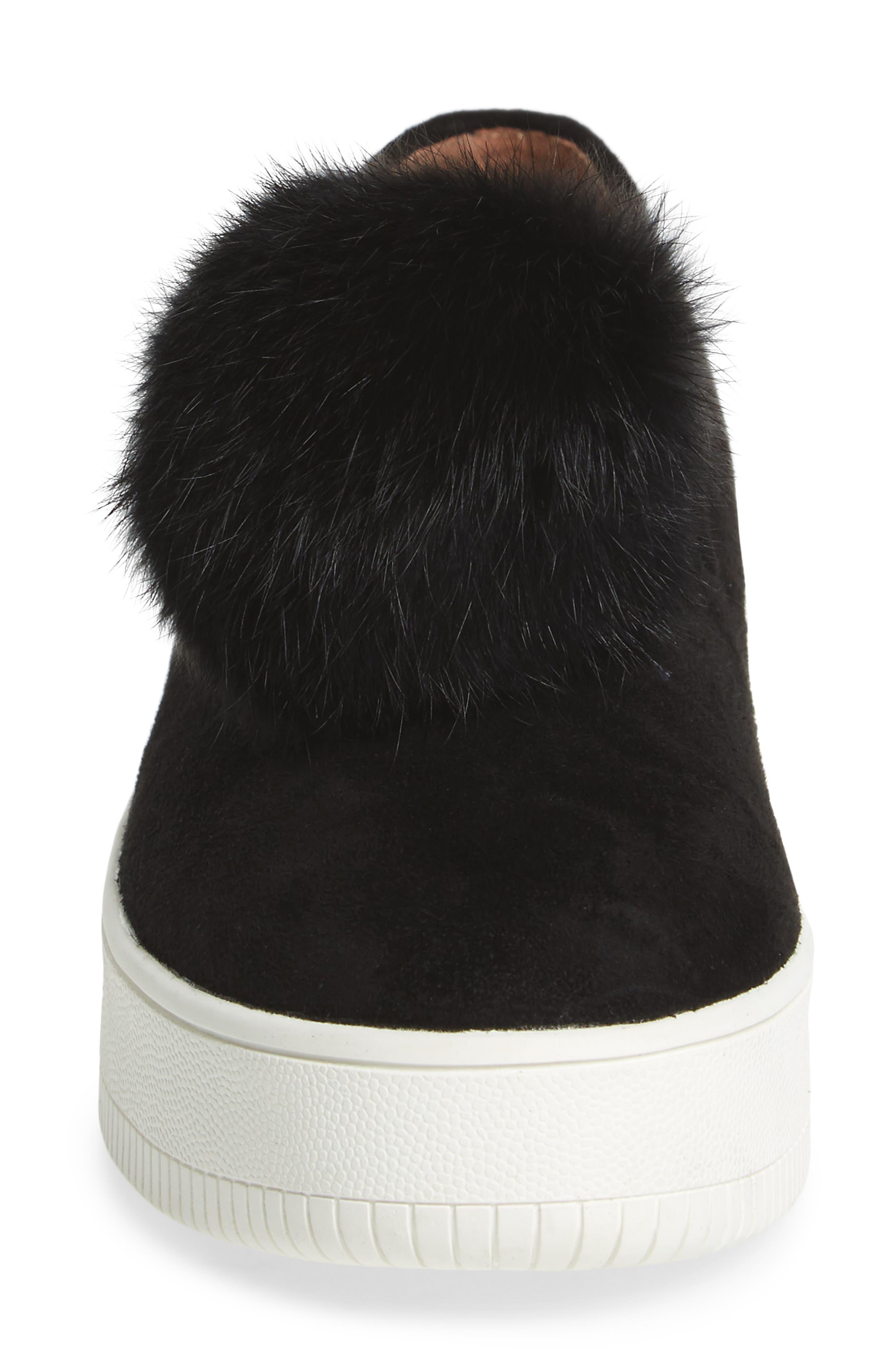 Sammy Platform Sneaker with Genuine Rabbit Fur Pompom,                             Alternate thumbnail 4, color,                             002
