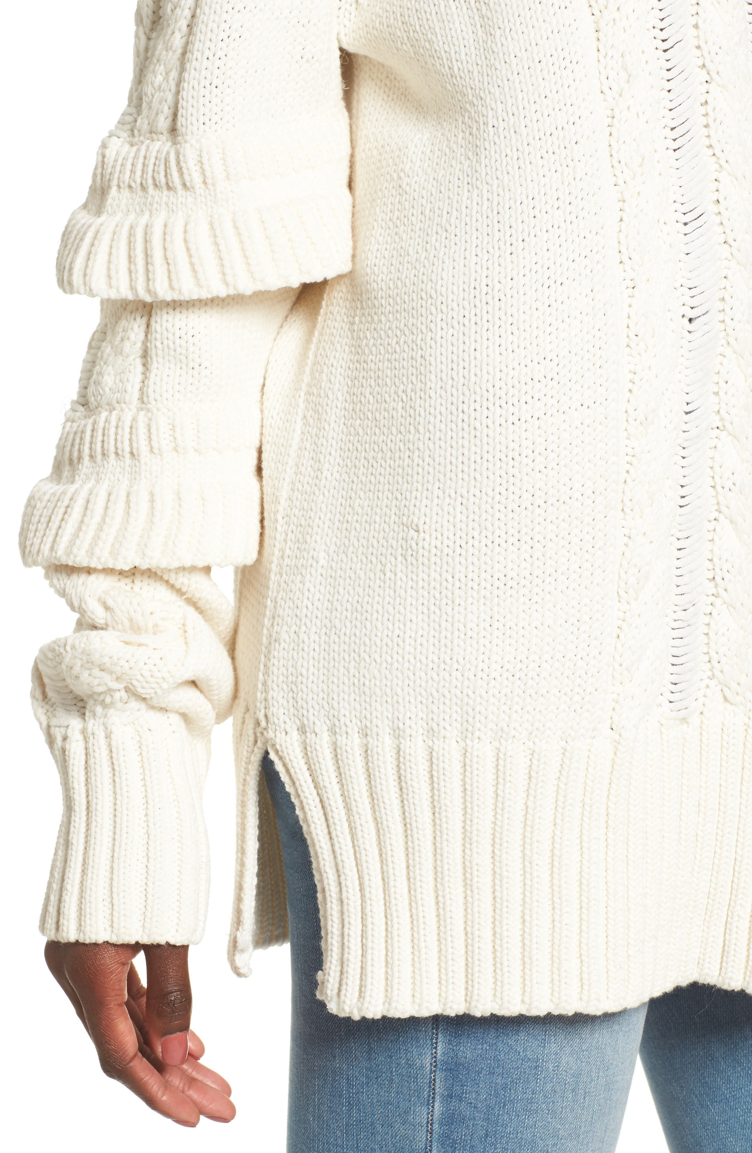 Ruffle Sleeve Cable Knit Sweater,                             Alternate thumbnail 4, color,                             901