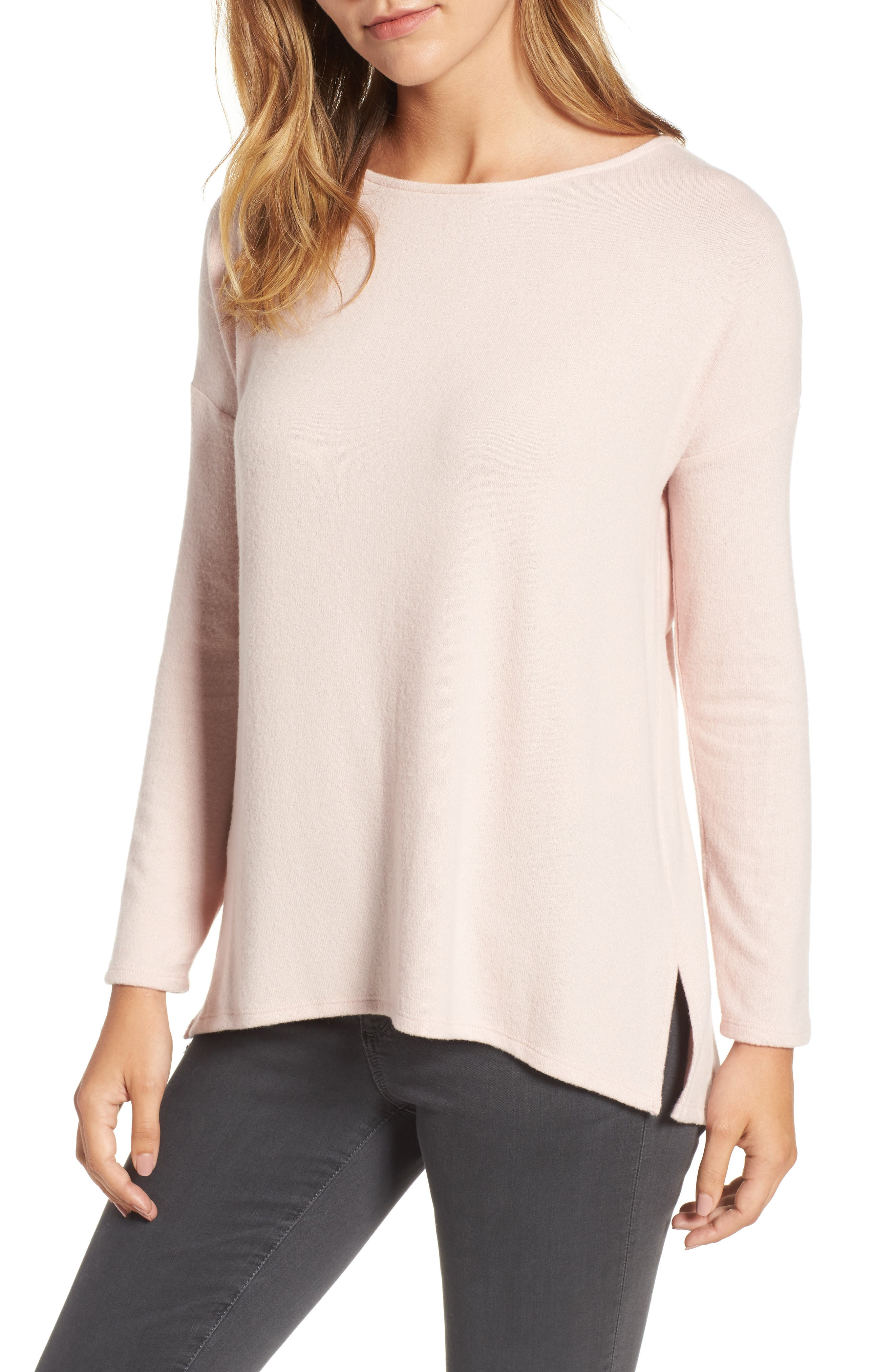 Cozy Ballet Neck High/Low Pullover,                             Main thumbnail 5, color,