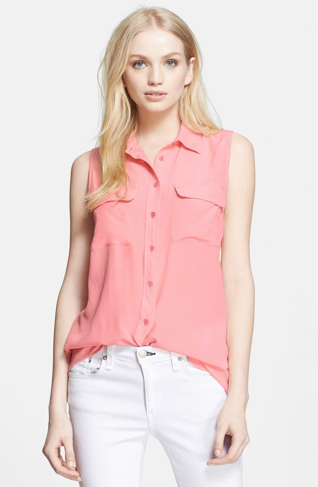 'Slim Signature' Sleeveless Silk Shirt,                             Main thumbnail 42, color,