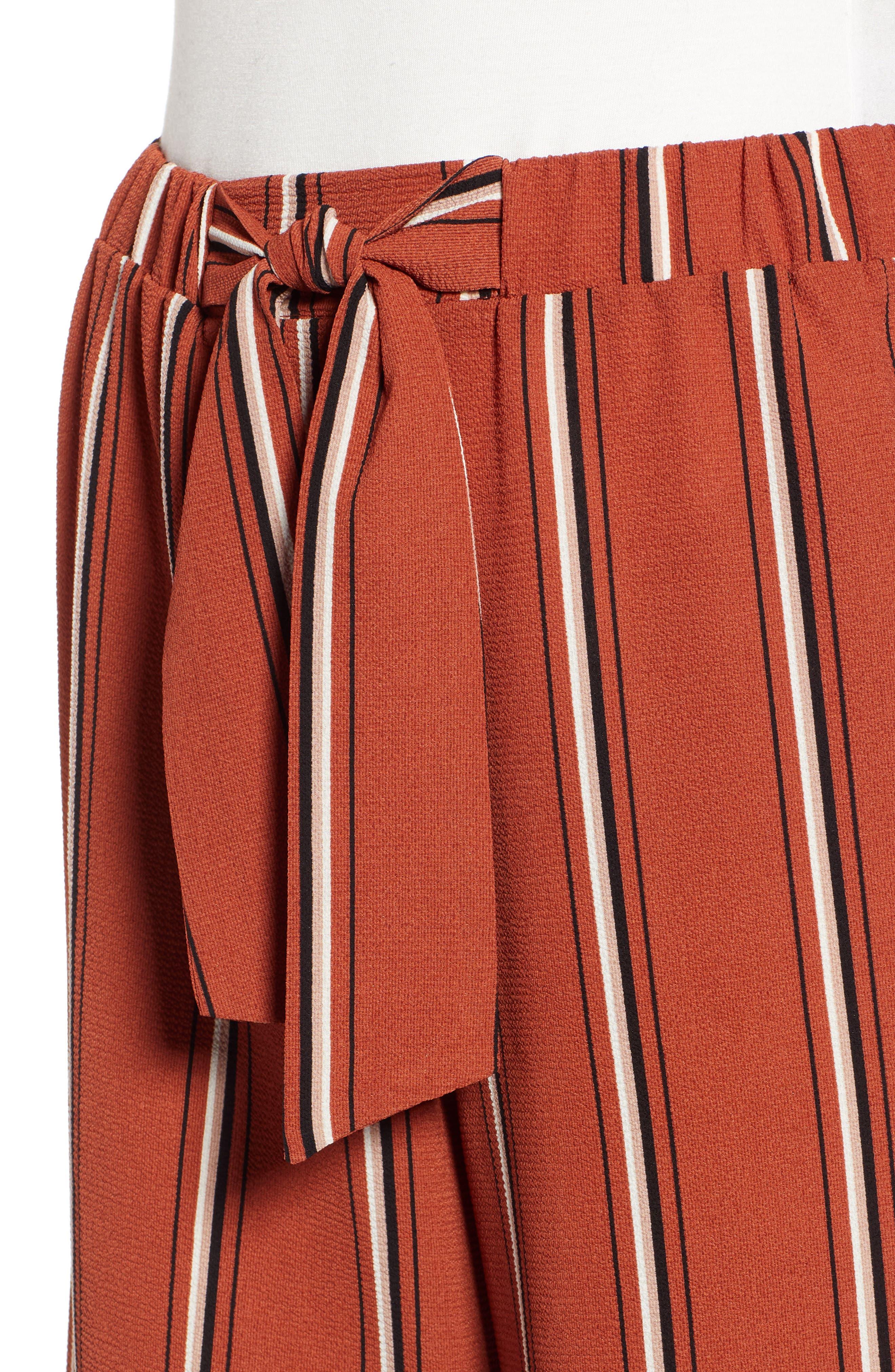 Tie Waist Stripe Wide Leg Crop Pants,                             Alternate thumbnail 4, color,                             RUST