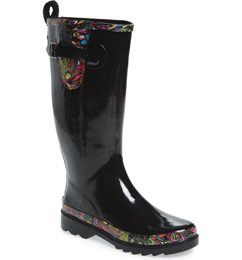 45cf23023 SAKROOTS Rhythm Waterproof Rain Boot, Main, color, BLACK RAINBOW SPIRIT  DESERT