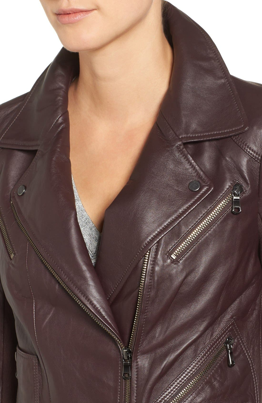 Leather Moto Jacket,                             Alternate thumbnail 5, color,                             201