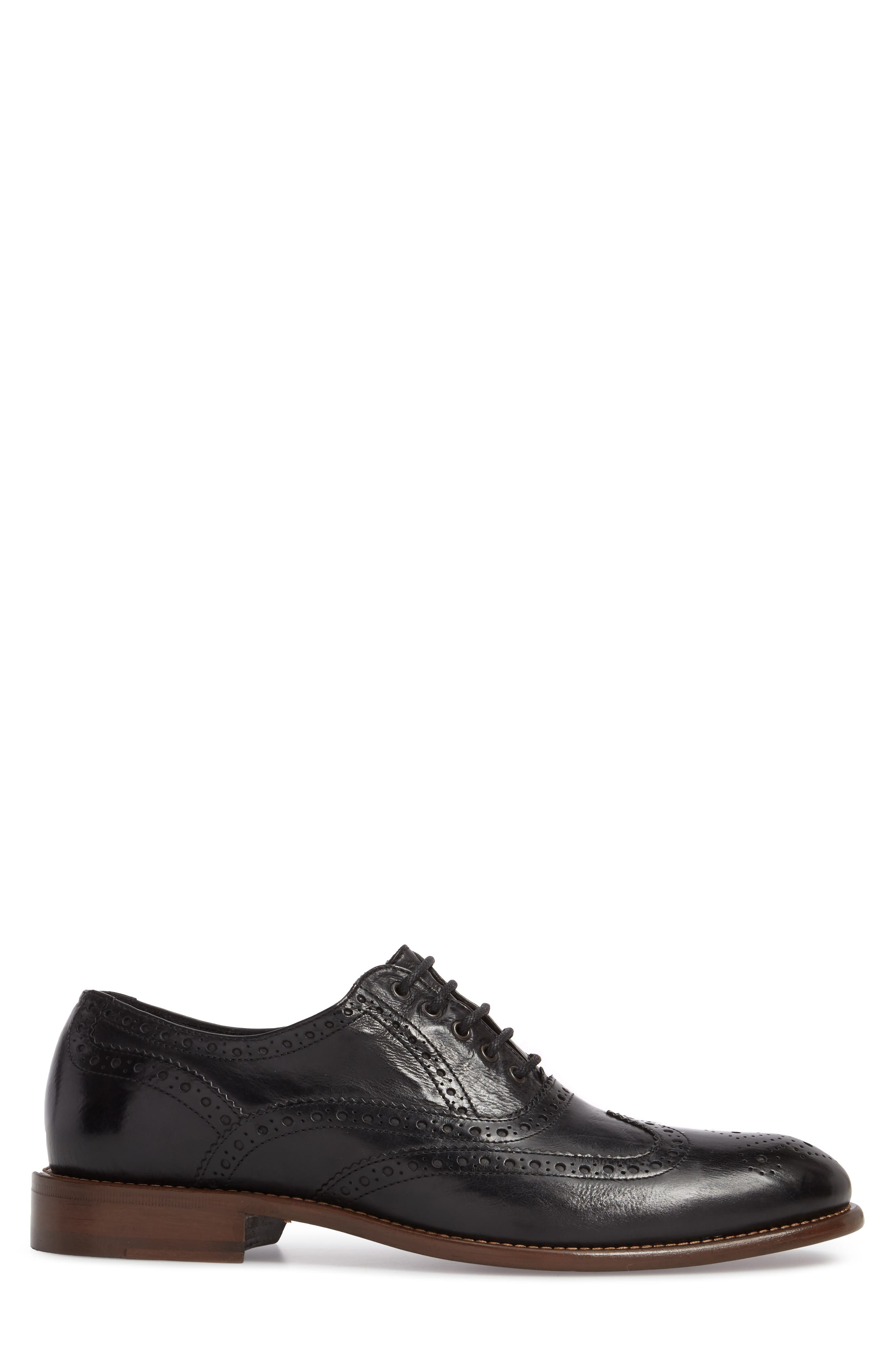 Bryson Wingtip Oxford,                             Alternate thumbnail 3, color,                             BLACK LEATHER