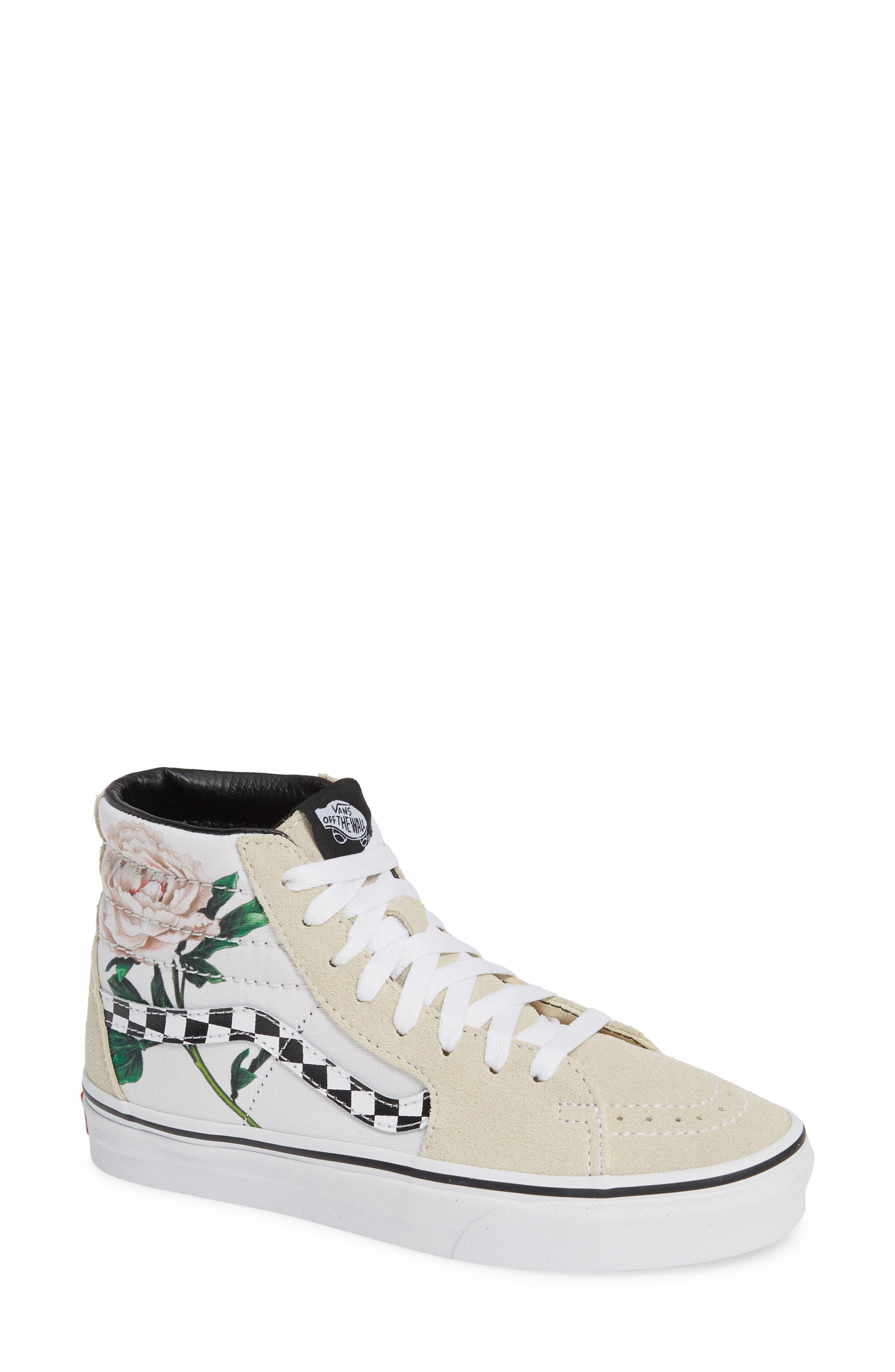 VANS,                             Sk8-Hi Checker Floral High Top Sneaker,                             Main thumbnail 1, color,                             CHECKER FLORAL TURTLEDOVE