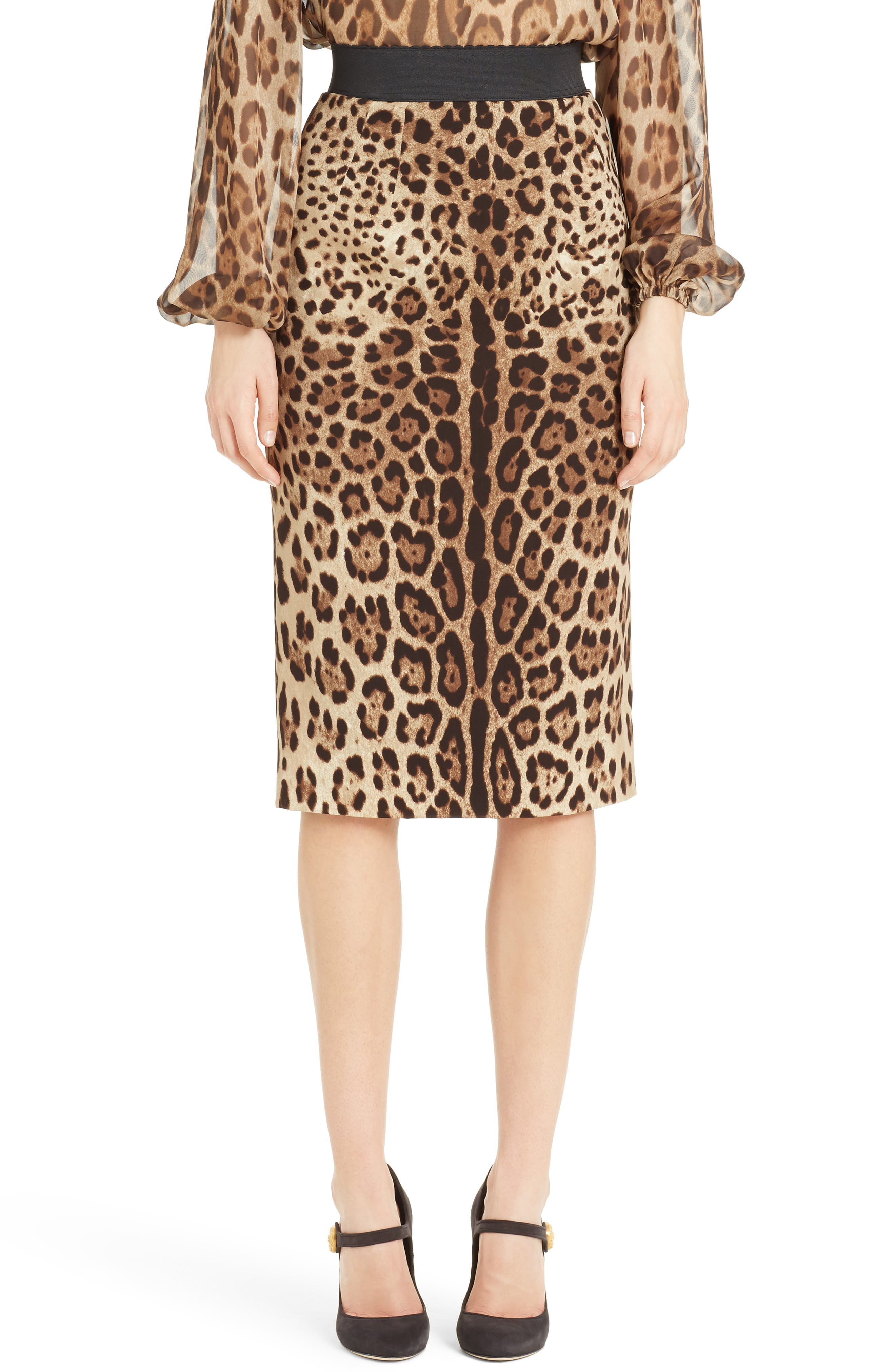 Leopard Print Stretch Silk Pencil Skirt,                             Main thumbnail 1, color,                             200
