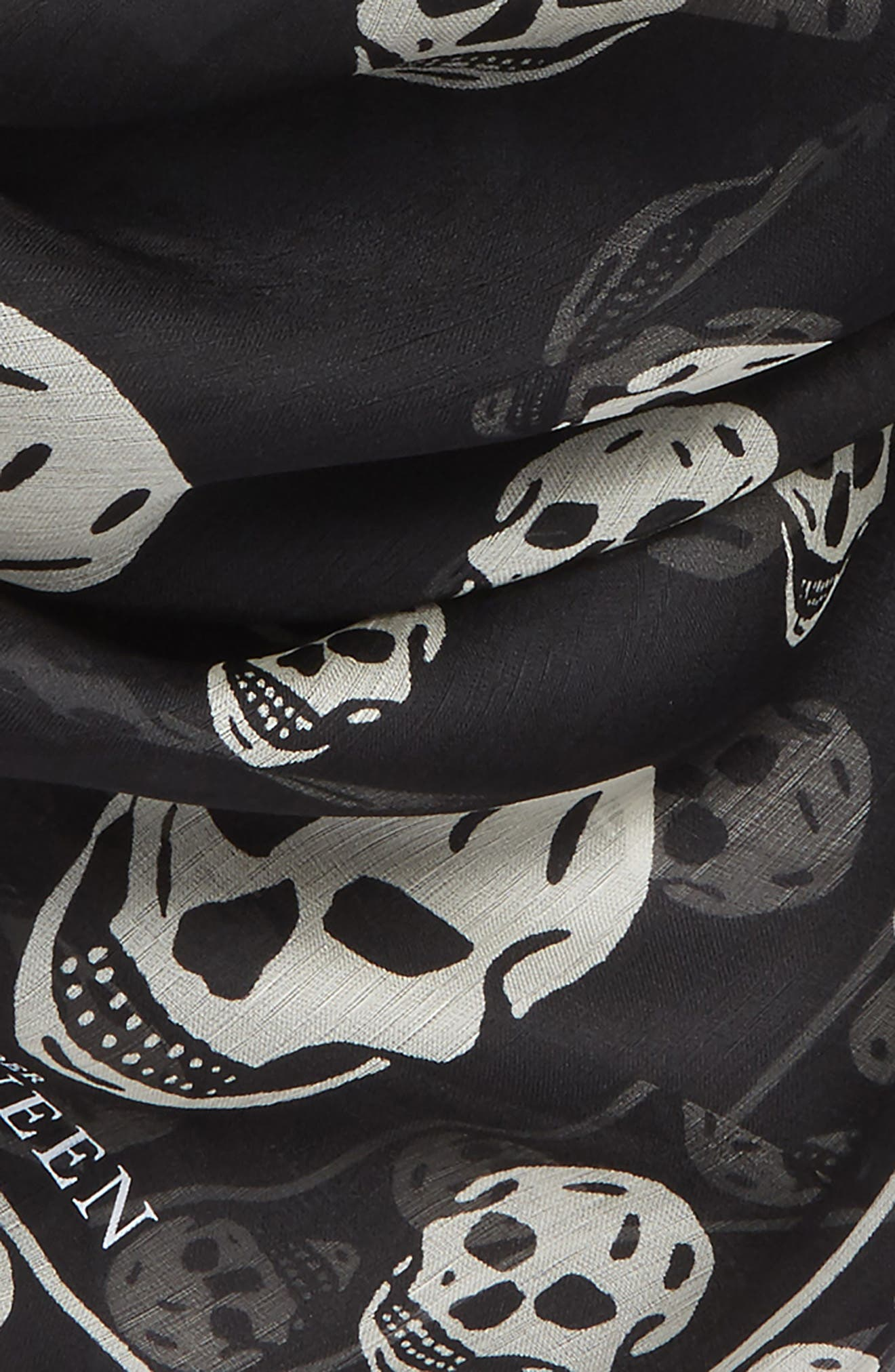 Skull Foulard Silk Scarf,                             Alternate thumbnail 4, color,                             BLACK/ IVORY