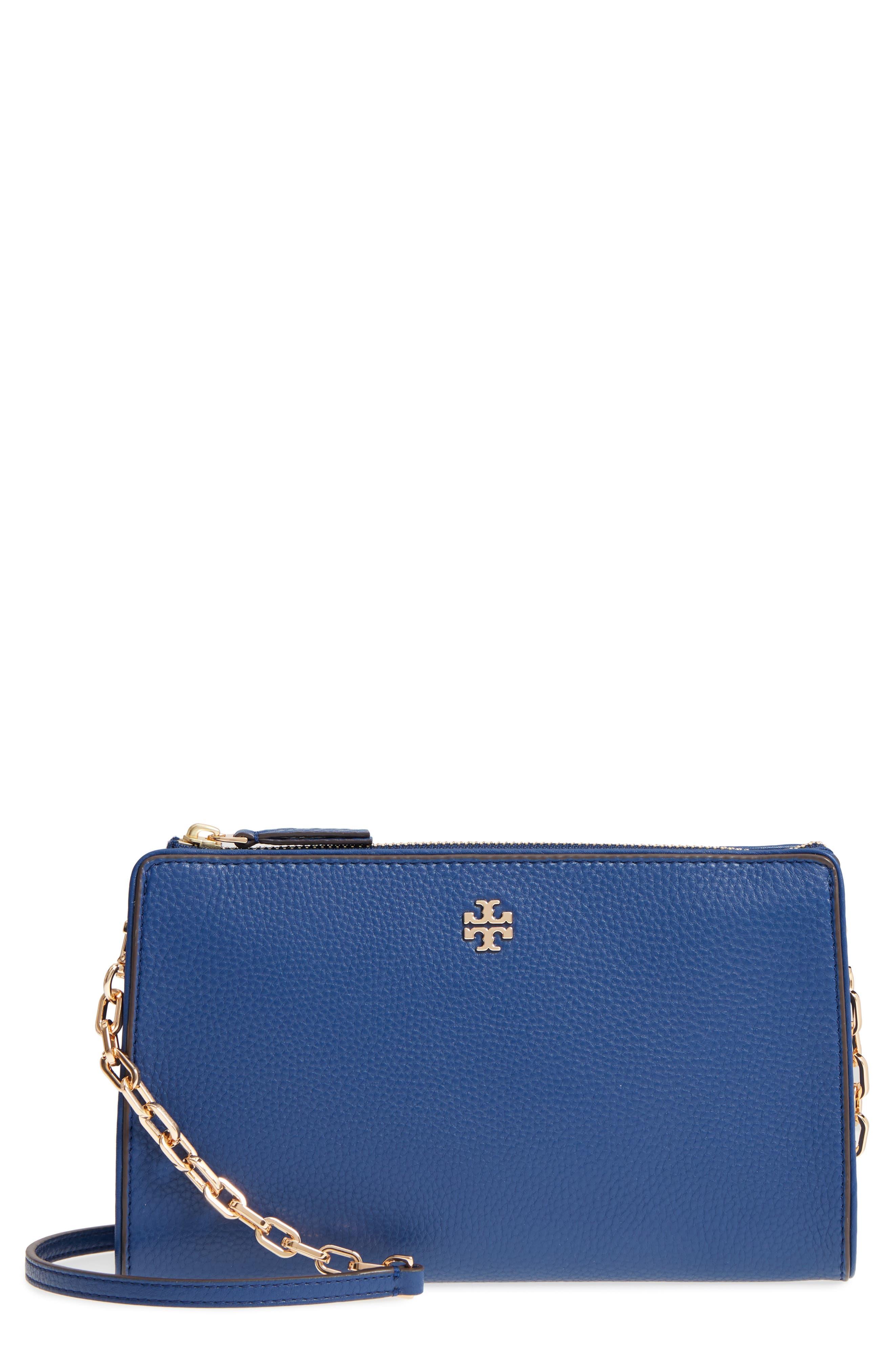 Marsden Leather Wallet Crossbody Bag,                         Main,                         color, FRESH BLUEBERRY