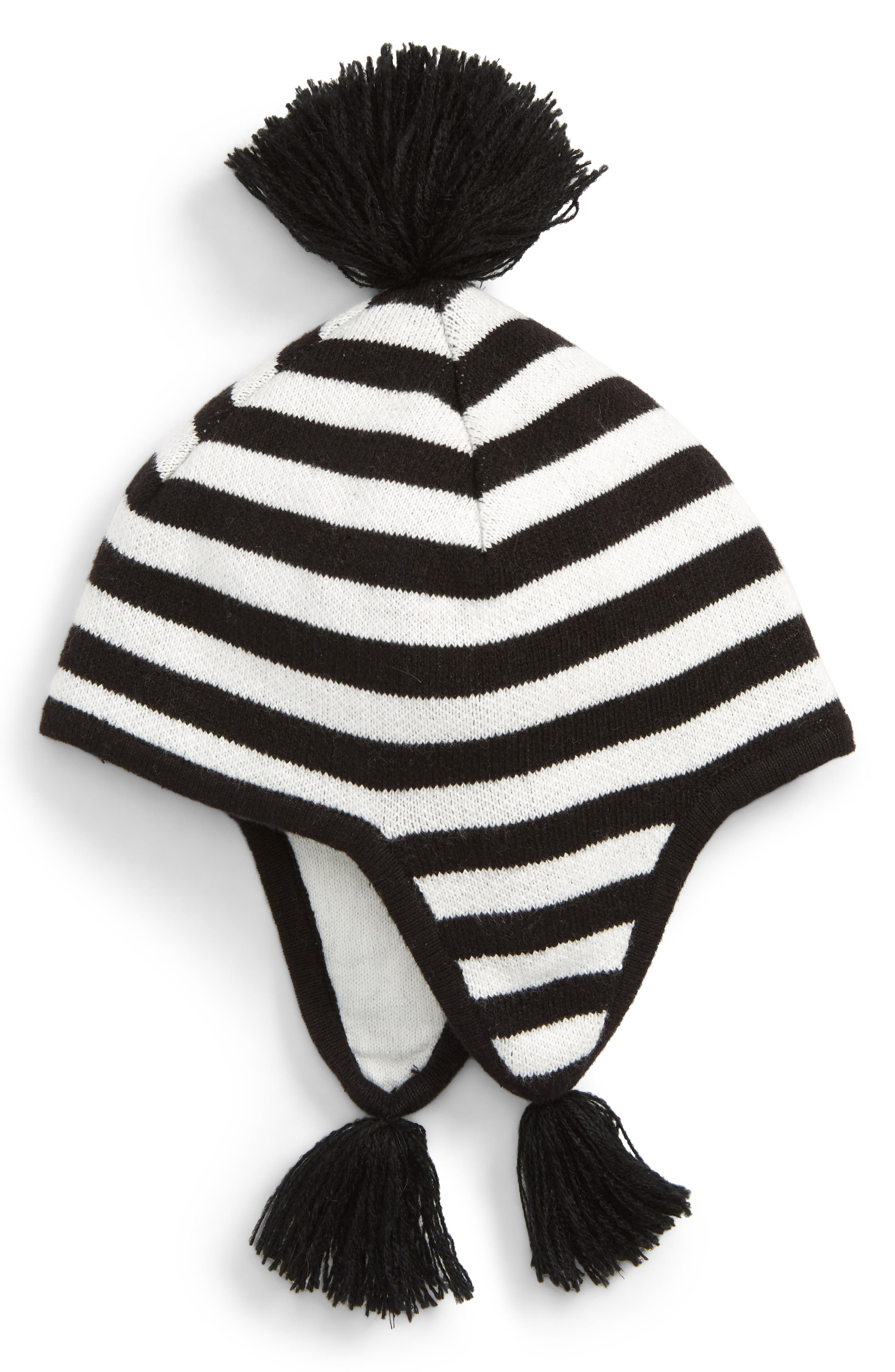Tassel Ear Flap Hat,                             Main thumbnail 1, color,                             BLACK- IVORY STRIPE
