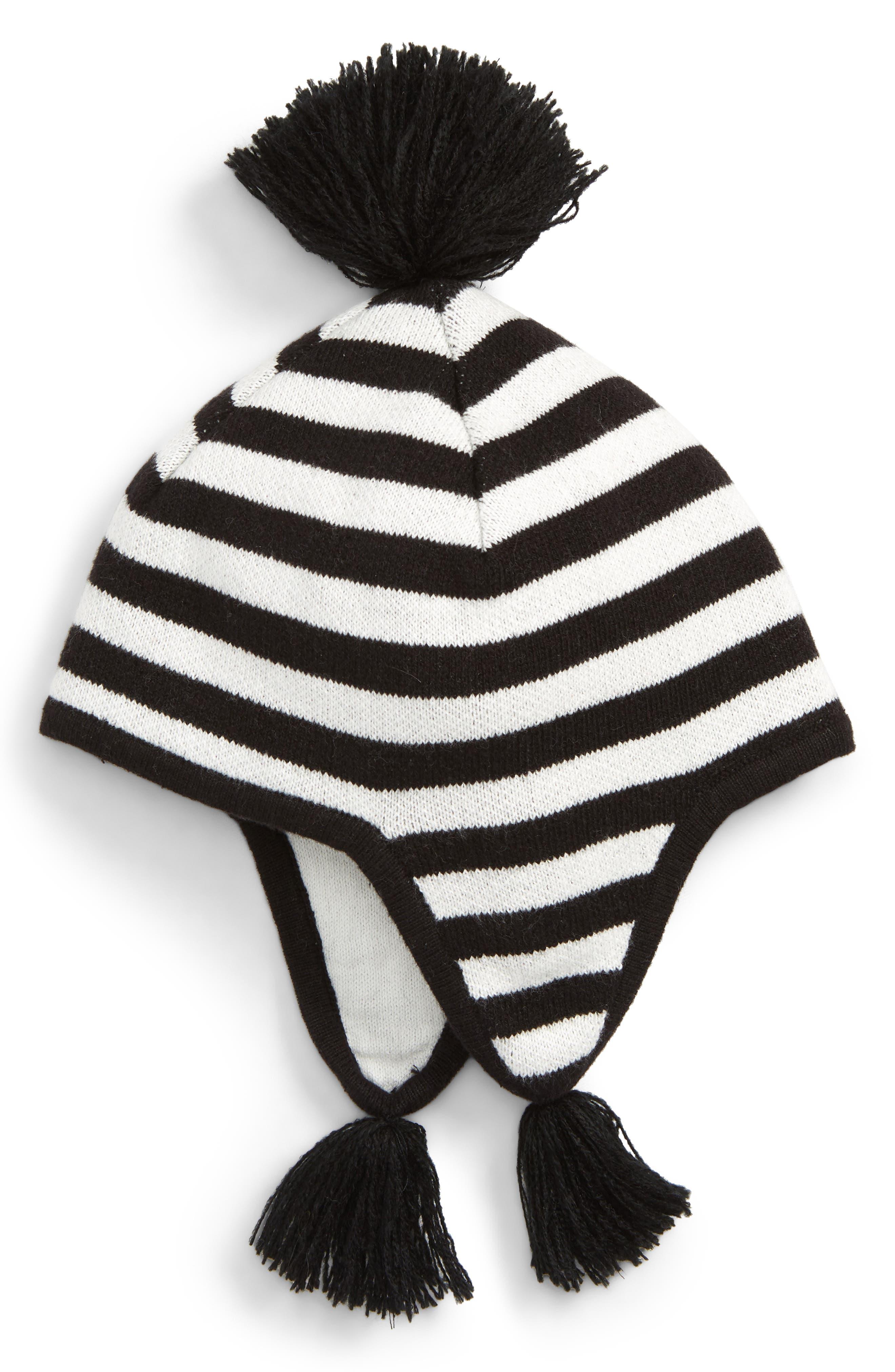Tassel Ear Flap Hat, Main, color, BLACK- IVORY STRIPE
