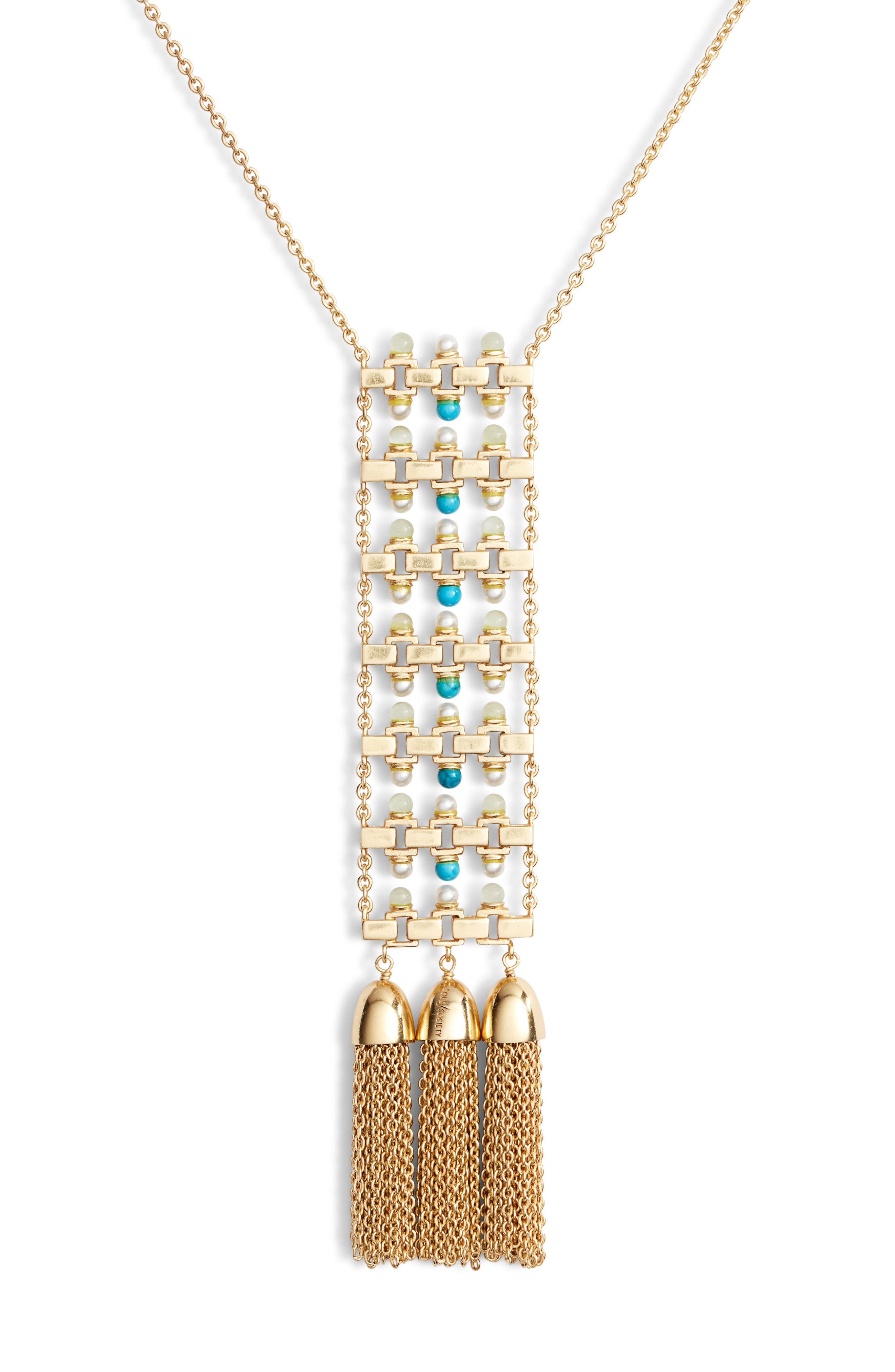Ladder Pendant Necklace,                             Alternate thumbnail 2, color,                             GOLD/ IVORY PEARL