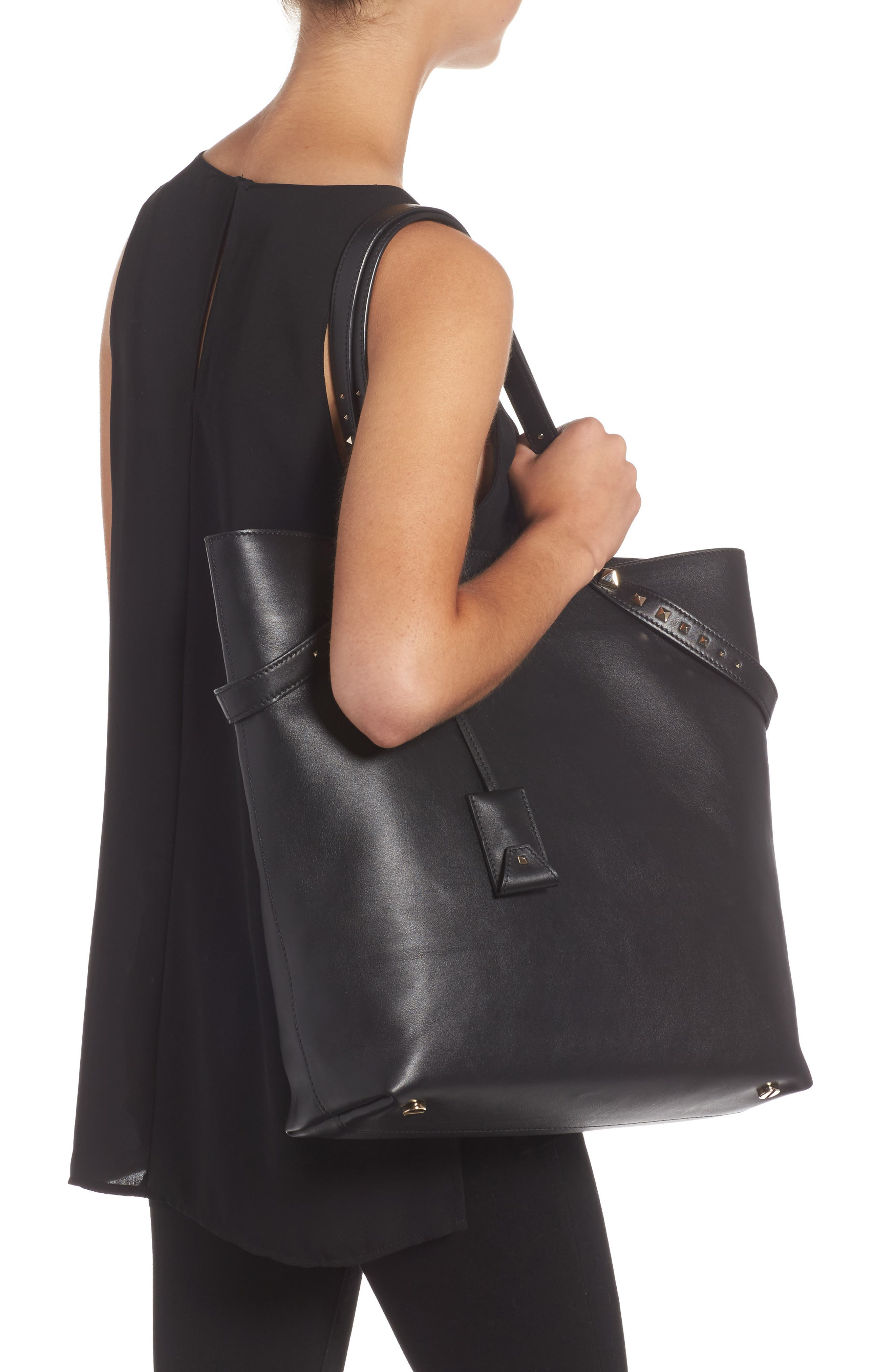 Lovestud Leather Tote,                             Alternate thumbnail 4, color,