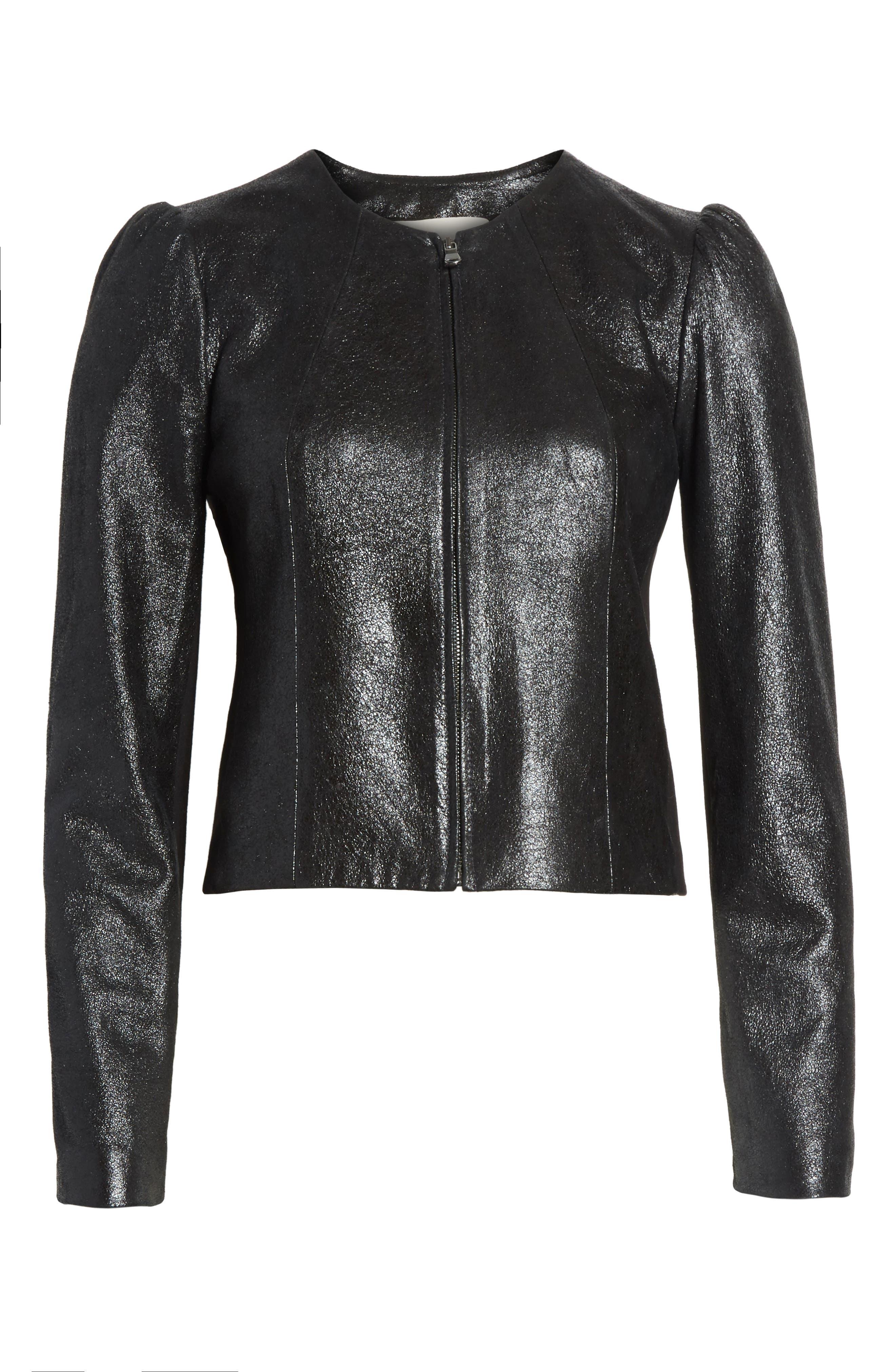 Metallic Leather Jacket,                             Alternate thumbnail 5, color,                             BLACK SPARKLE