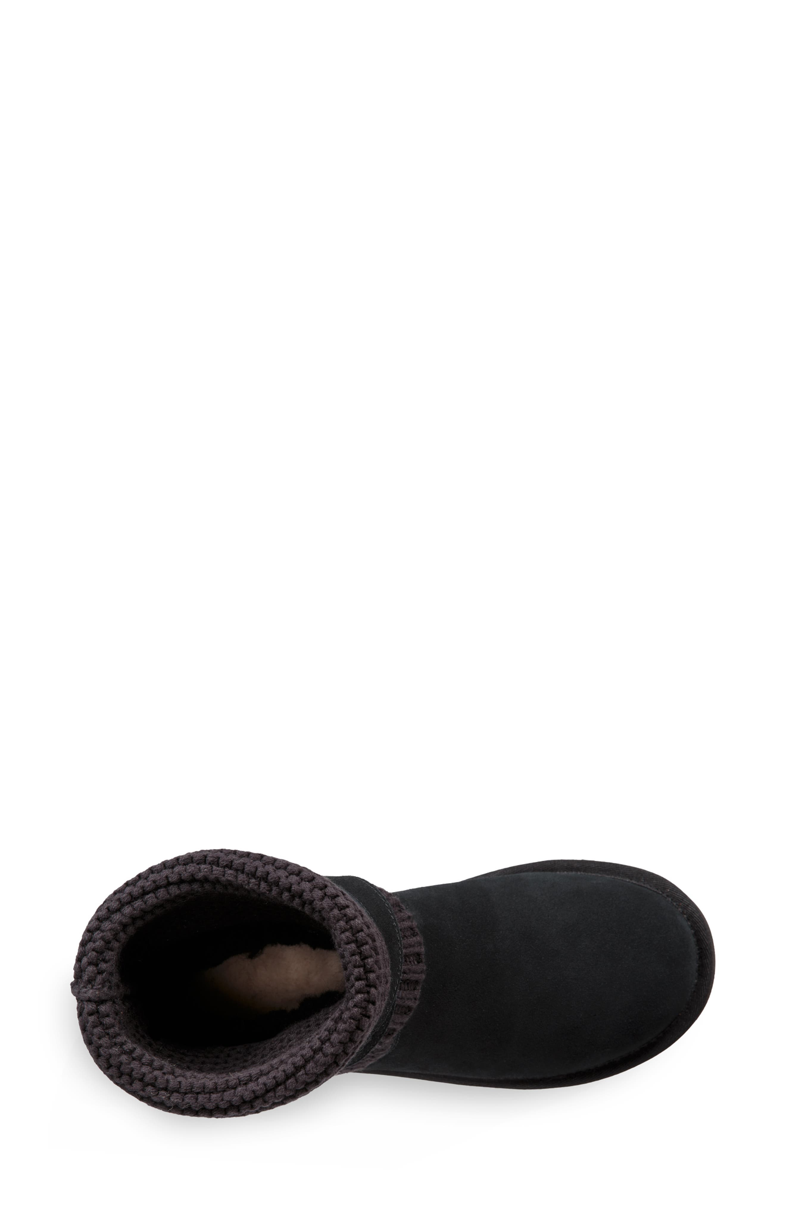 UGGpure<sup>™</sup> Strappy Purl Knit Bootie,                             Alternate thumbnail 11, color,                             BLACK SUEDE