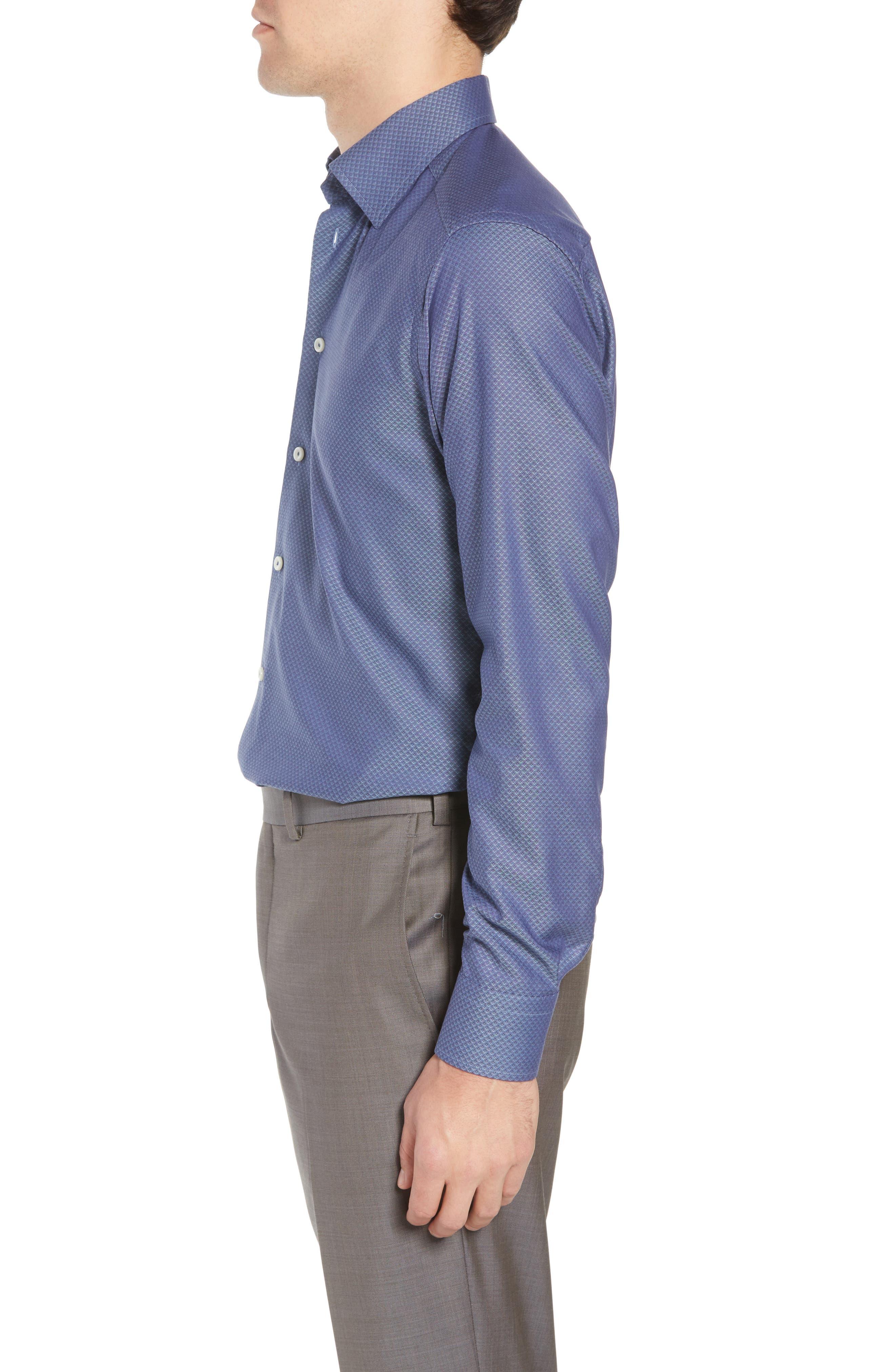 Slim Fit Diamond Print Dress Shirt,                             Alternate thumbnail 4, color,                             400