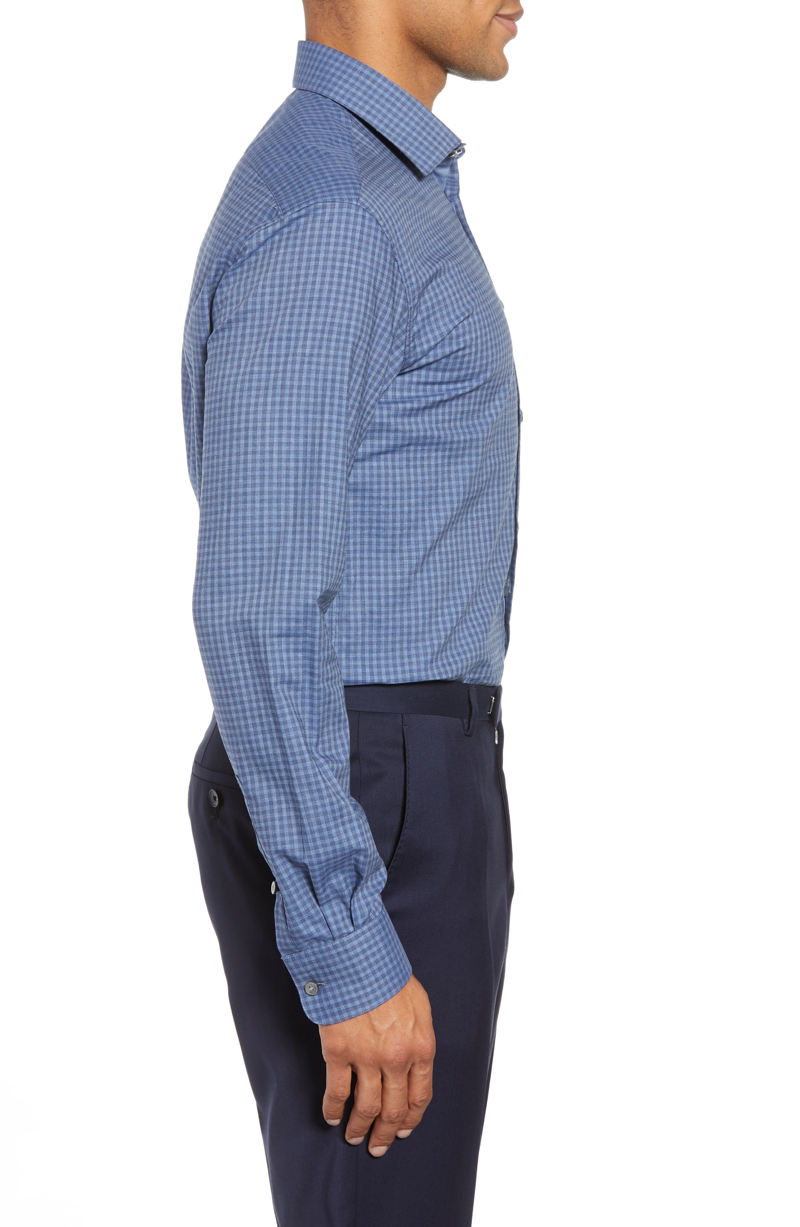 Slim Fit Check Dress Shirt,                             Alternate thumbnail 4, color,                             BLUE HEATHER