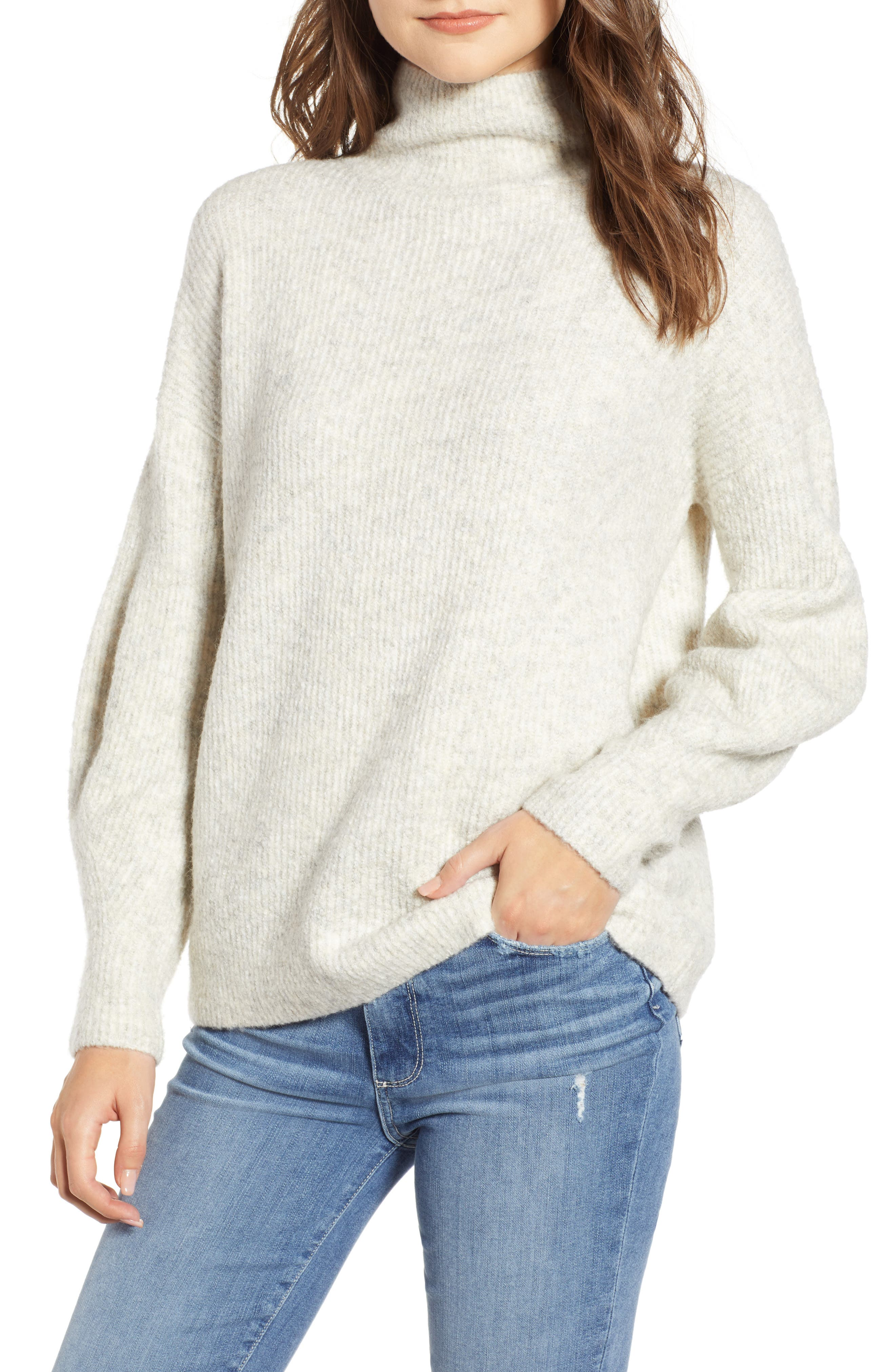 Urban Flossy Cowl Neck Sweater, Main, color, OATMEAL