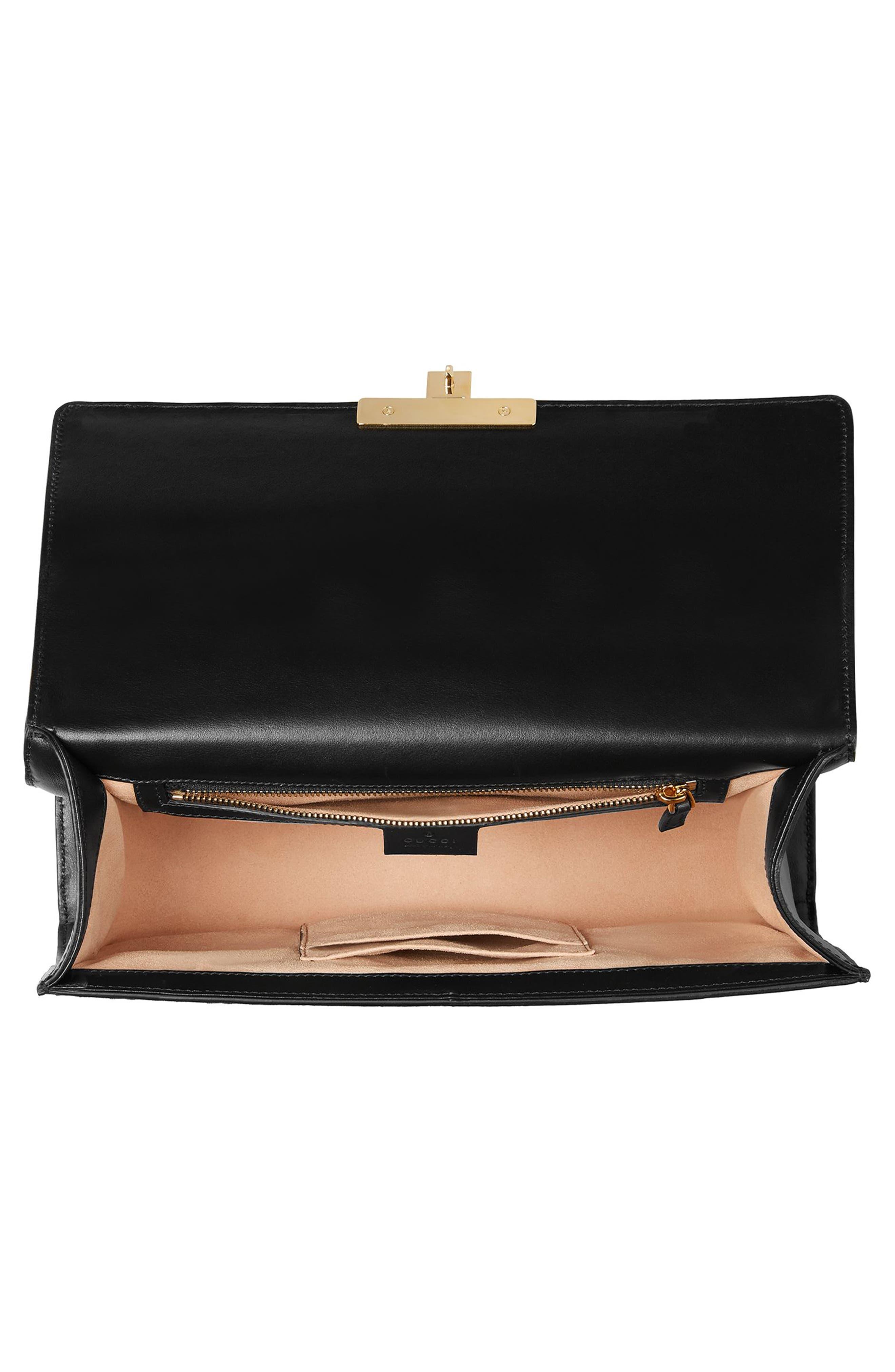 Medium Padlock GG Supreme Canvas & Leather Shoulder Bag,                             Alternate thumbnail 3, color,                             NERO/ORO VECCHIO