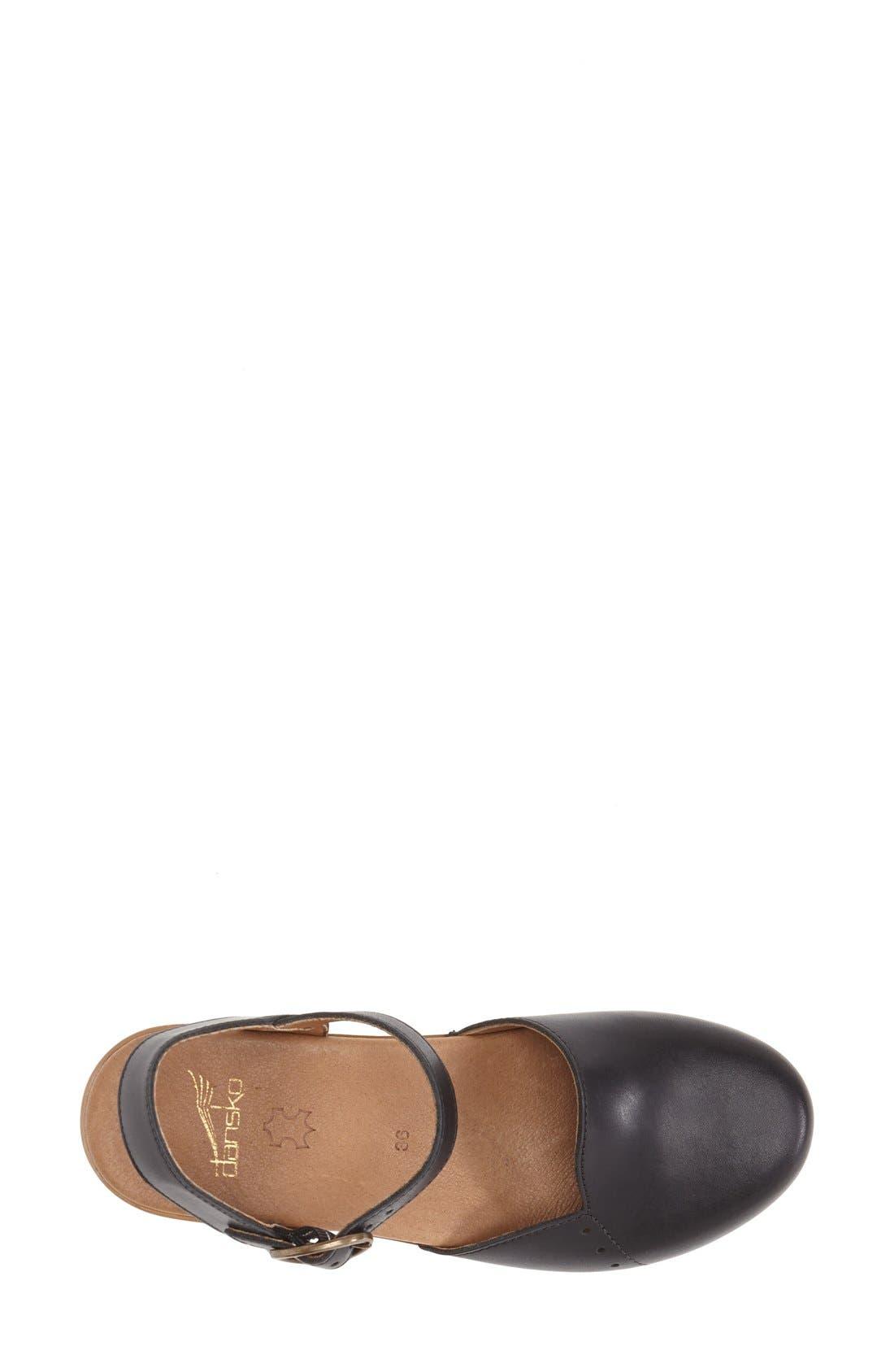 'Maisie' Ankle Strap Leather Pump,                             Alternate thumbnail 4, color,                             001