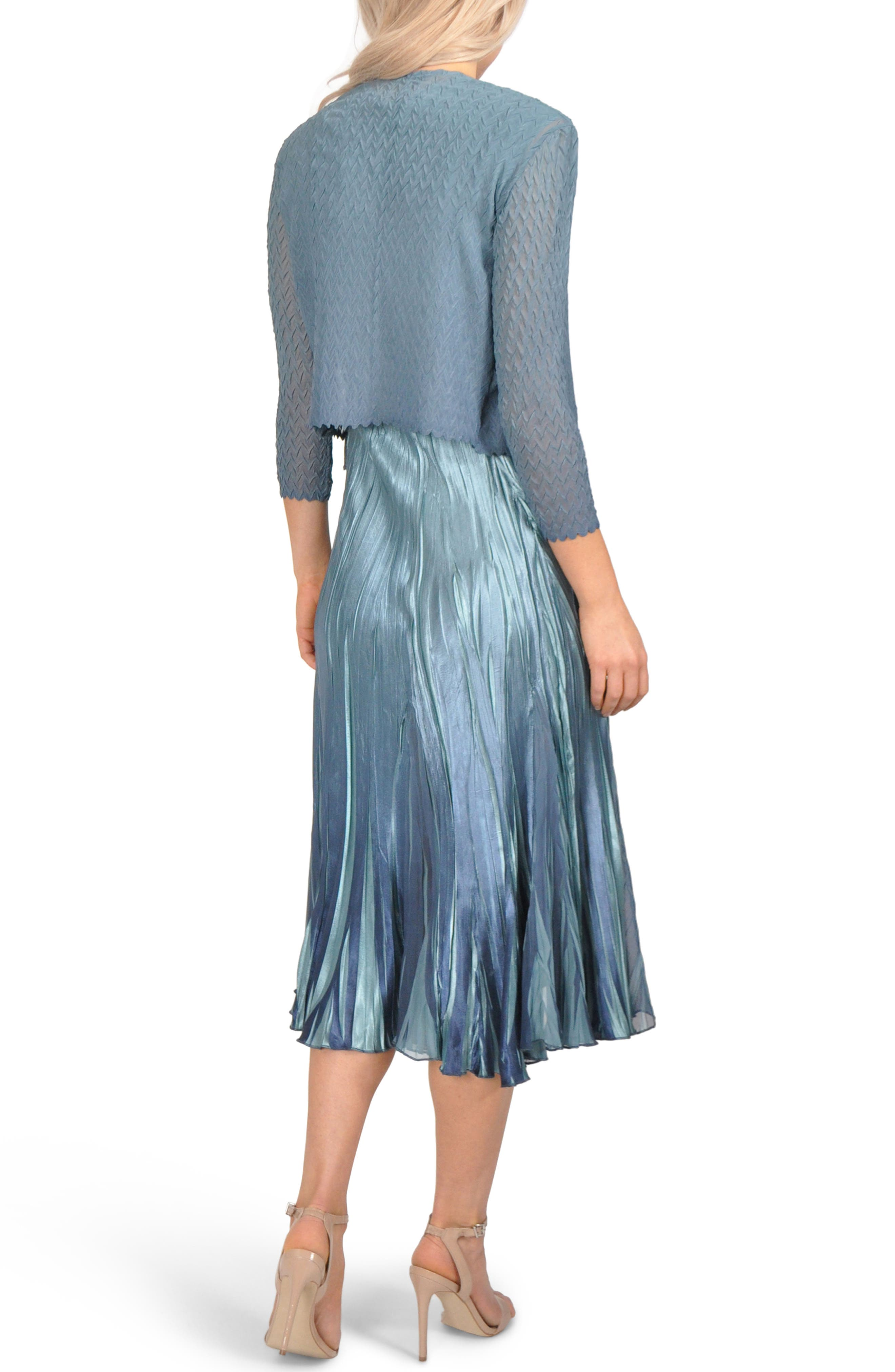 Embellished Pleat Mixed Media Dress with Jacket,                             Alternate thumbnail 2, color,                             SILVER BLUE OMBRE