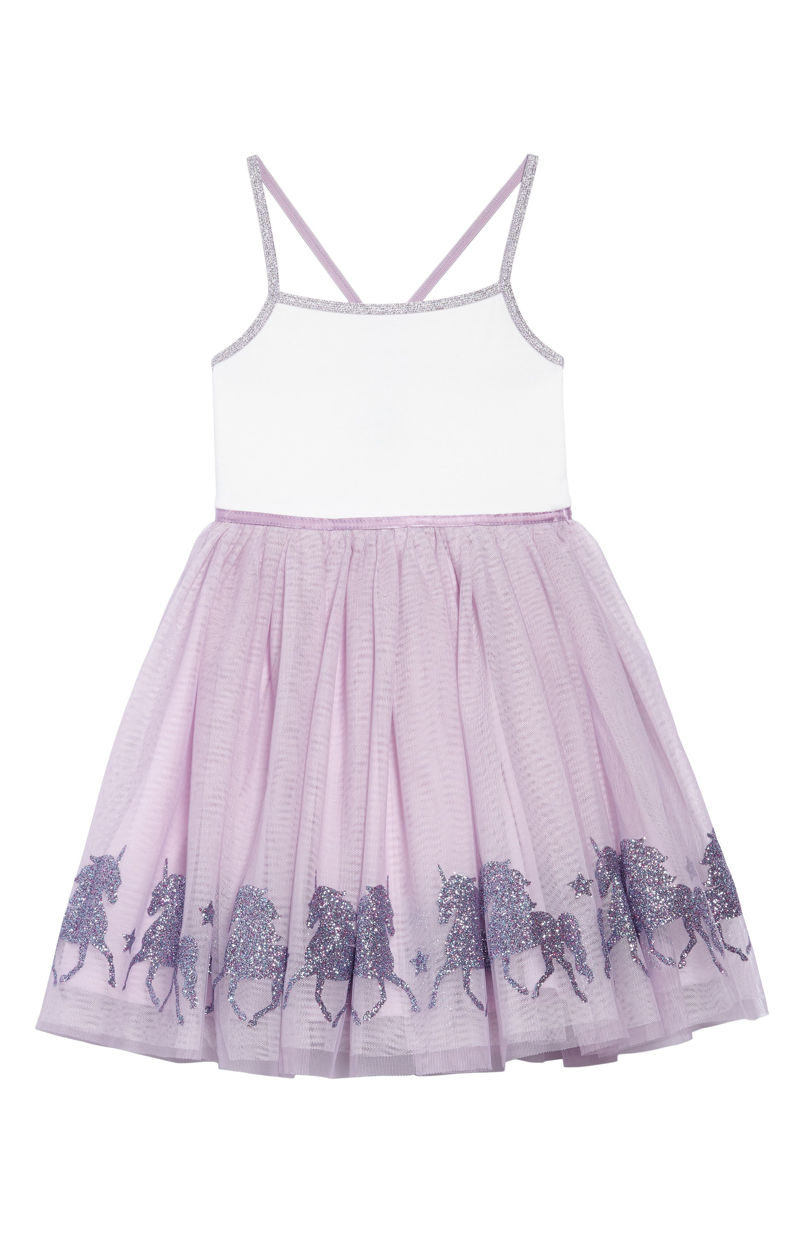 Glittery Unicorn Ballerina Dress,                             Main thumbnail 1, color,                             LAVENDER