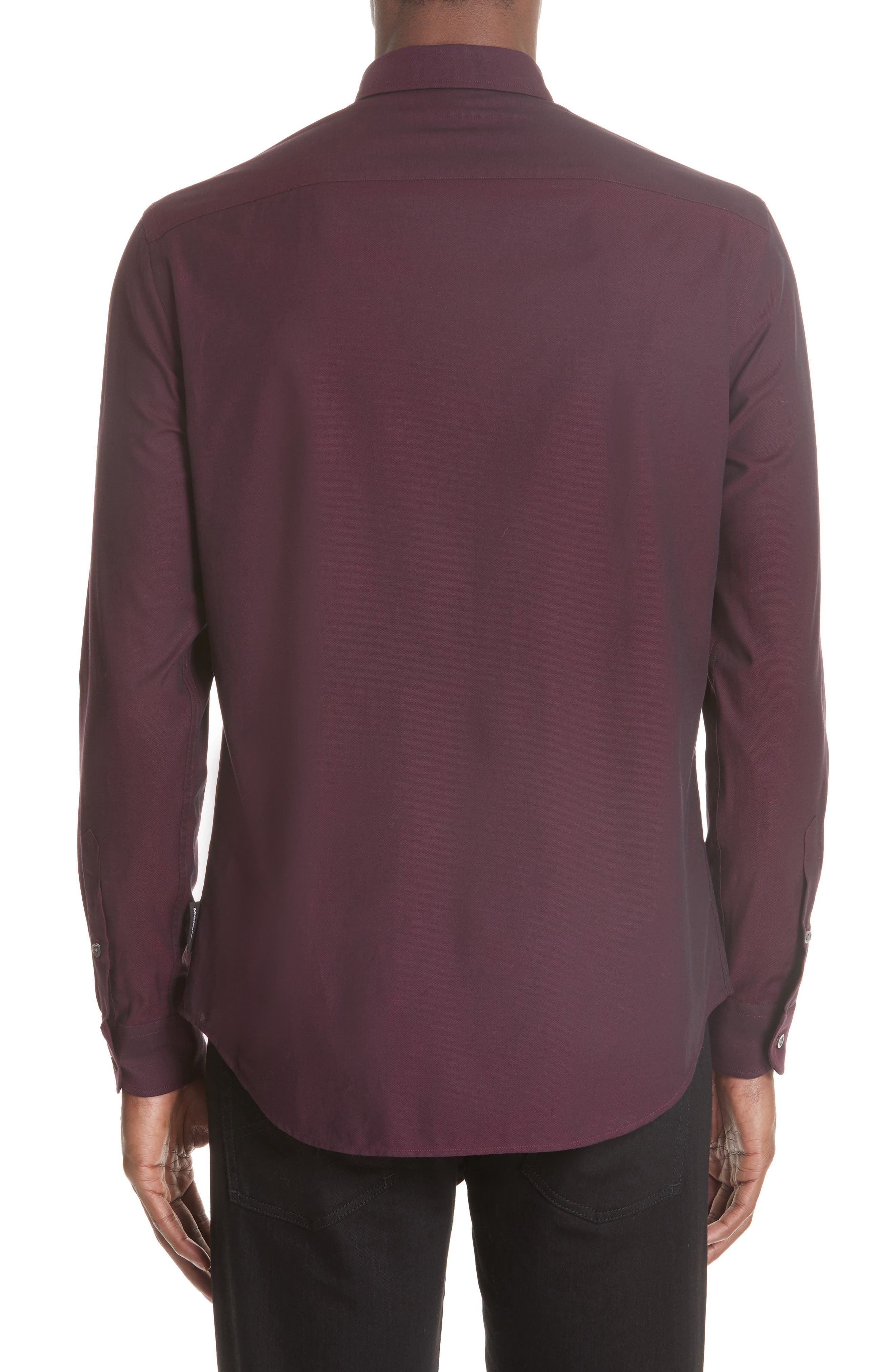 Solid Sport Shirt,                             Alternate thumbnail 3, color,                             BORDEAUX