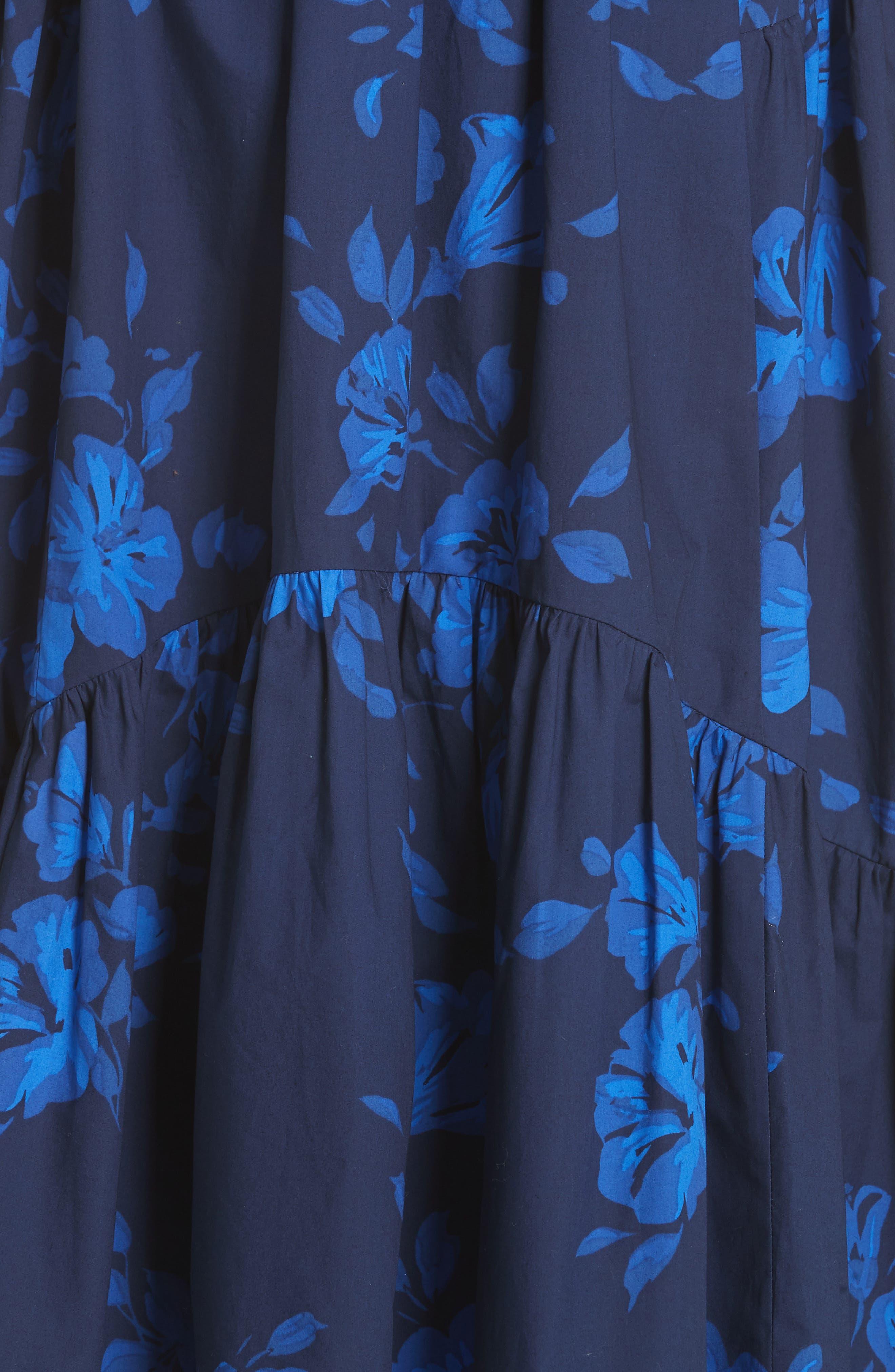 hibiscus off the shoulder cotton dress,                             Alternate thumbnail 6, color,