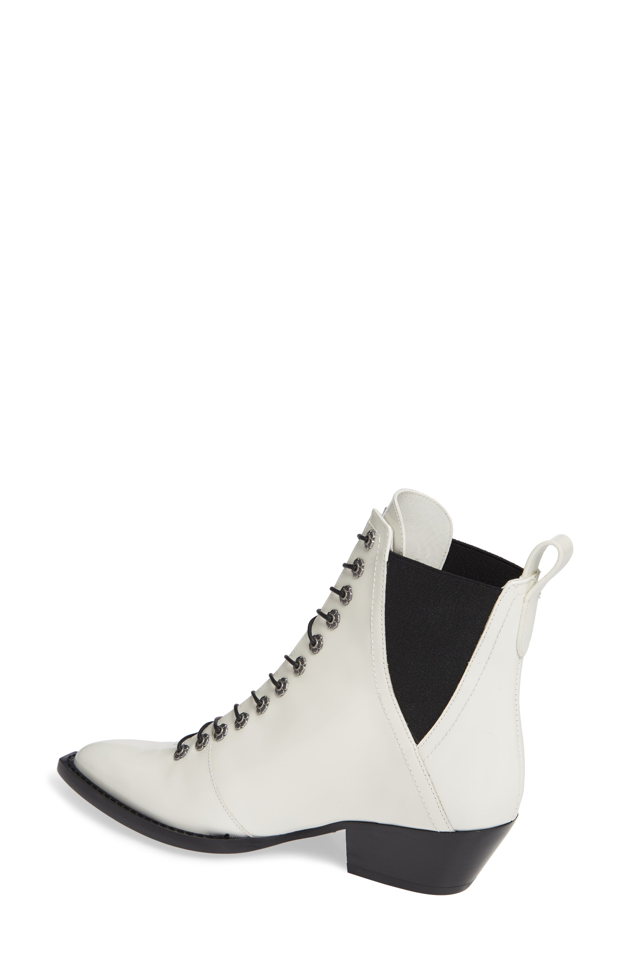 Lace-Up Bootie,                             Alternate thumbnail 2, color,                             IVORY LEATHER
