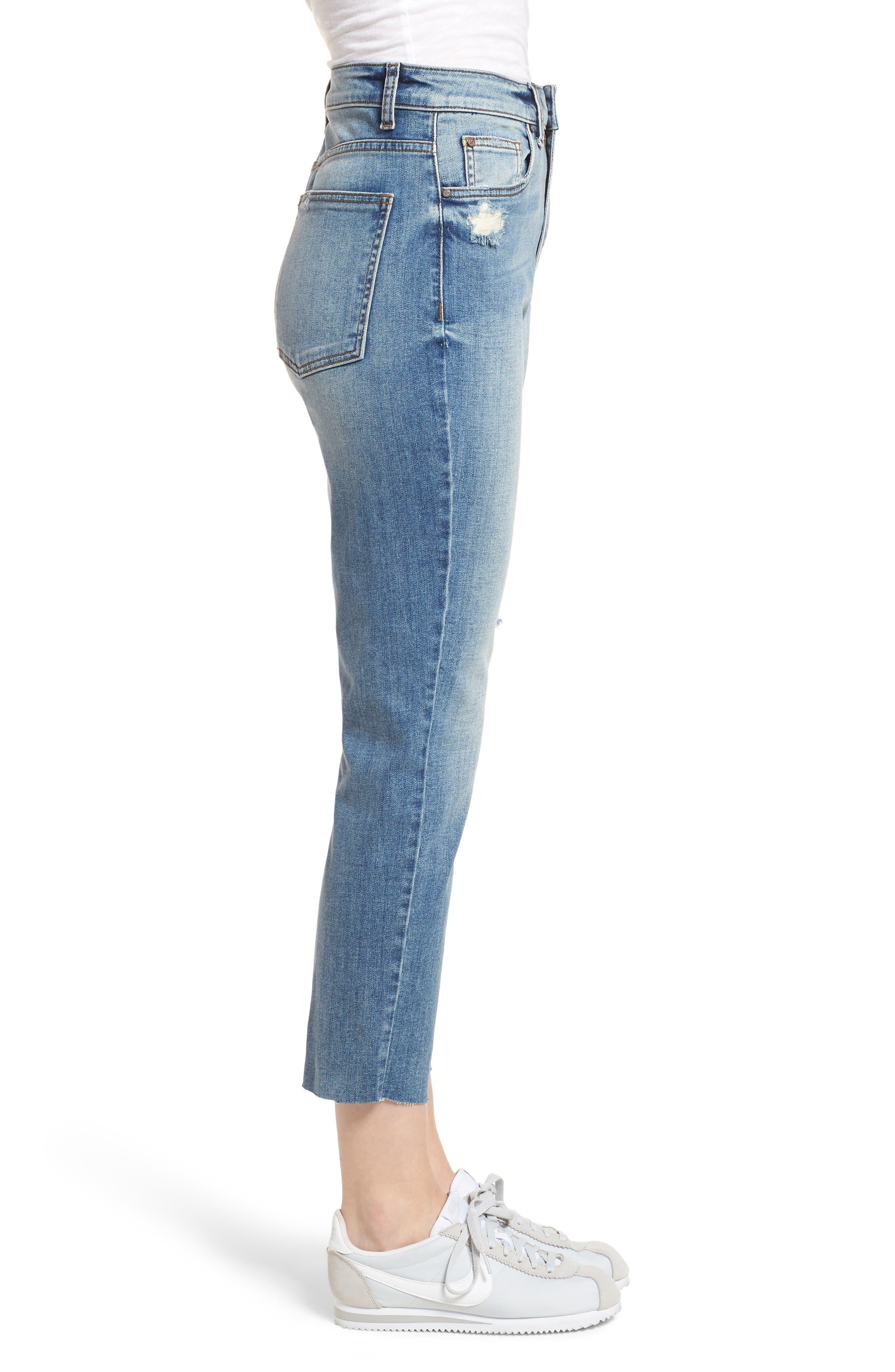 High Waist Crop Jeans,                             Alternate thumbnail 3, color,                             400