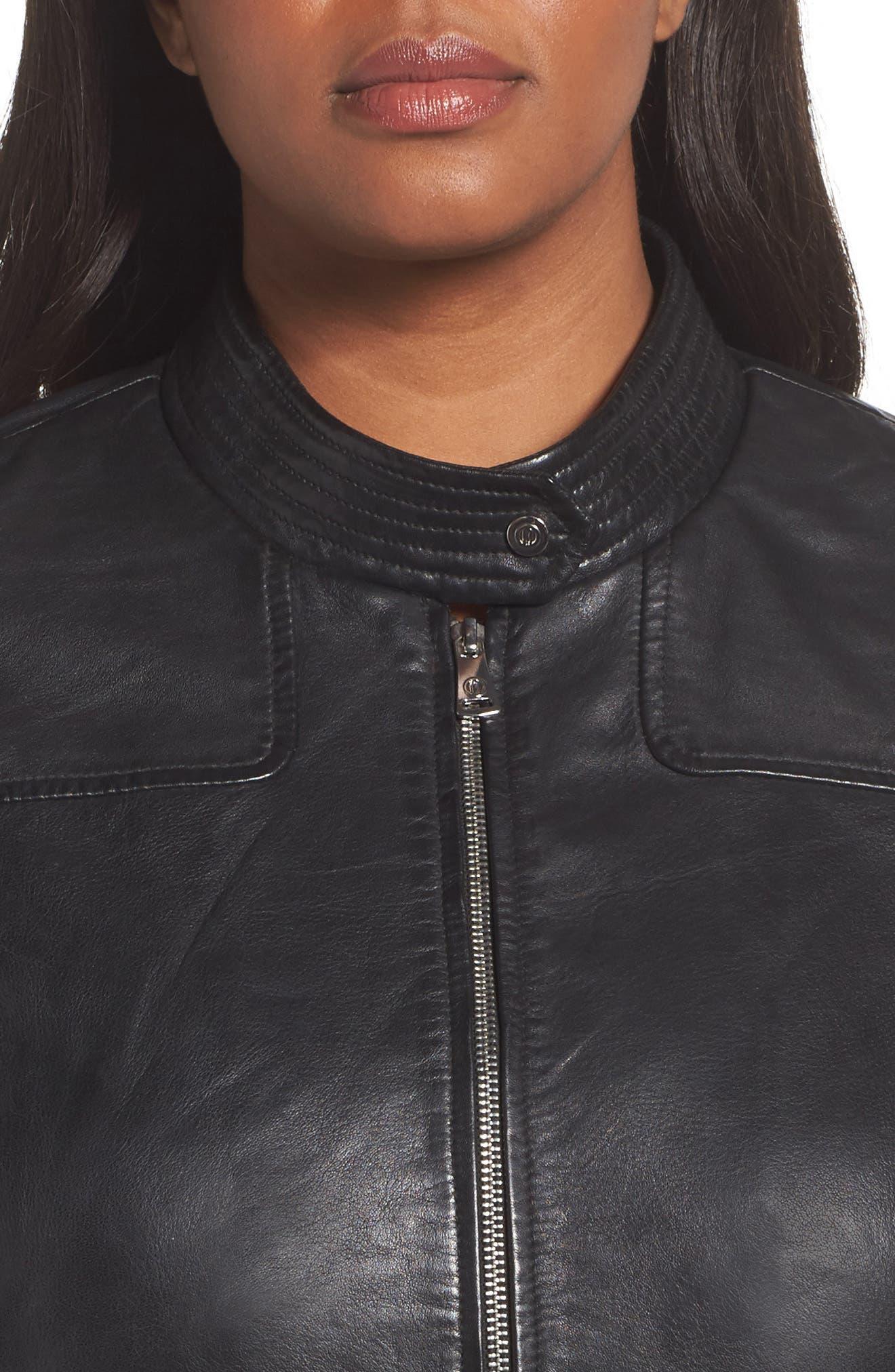 Kirwin Sheepskin Leather Jacket,                             Alternate thumbnail 4, color,                             001