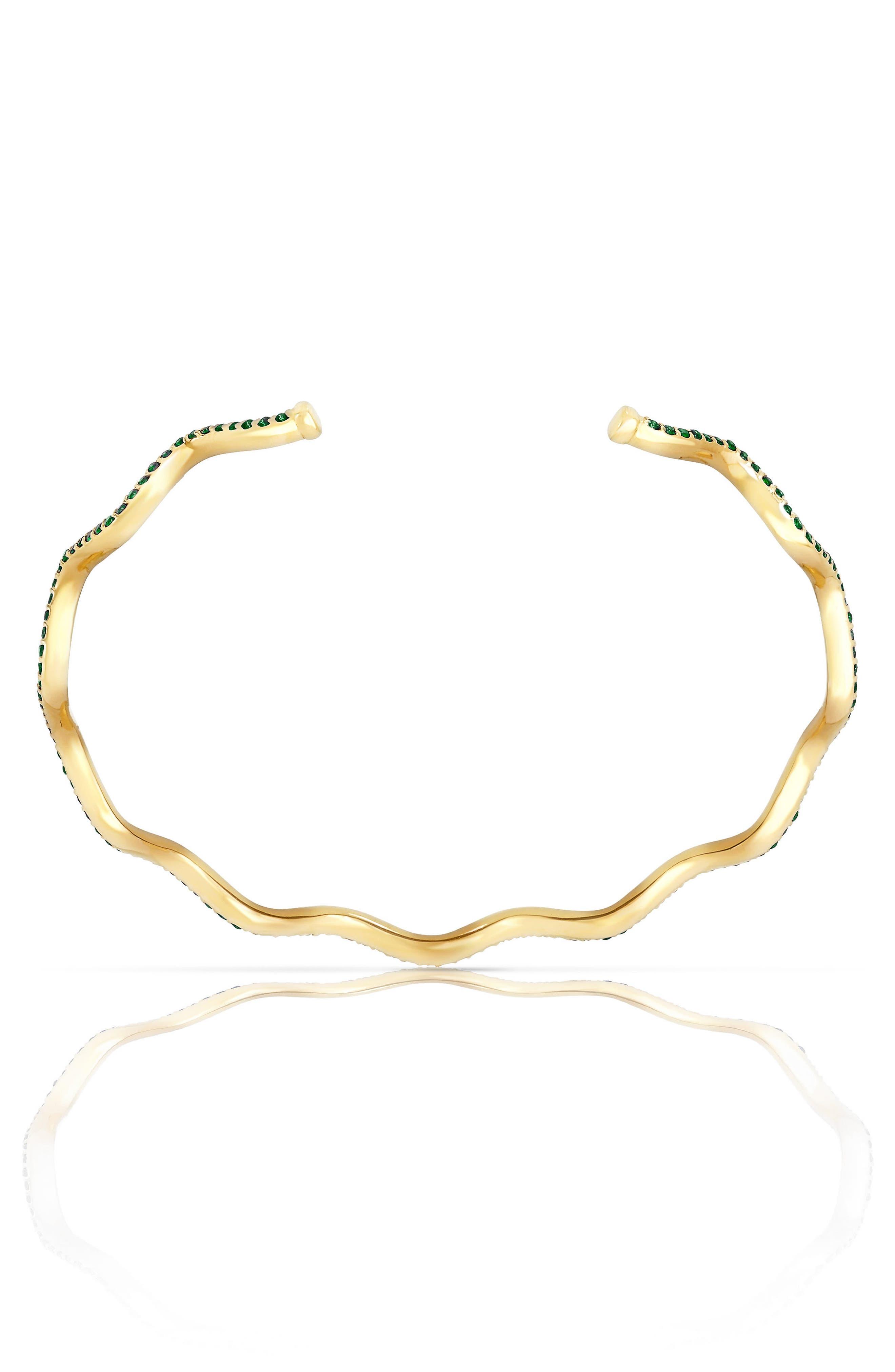 Baby Memphis Solid Wave Tsavorite Cuff Bracelet,                             Alternate thumbnail 2, color,                             GOLD/ TSAVORITE