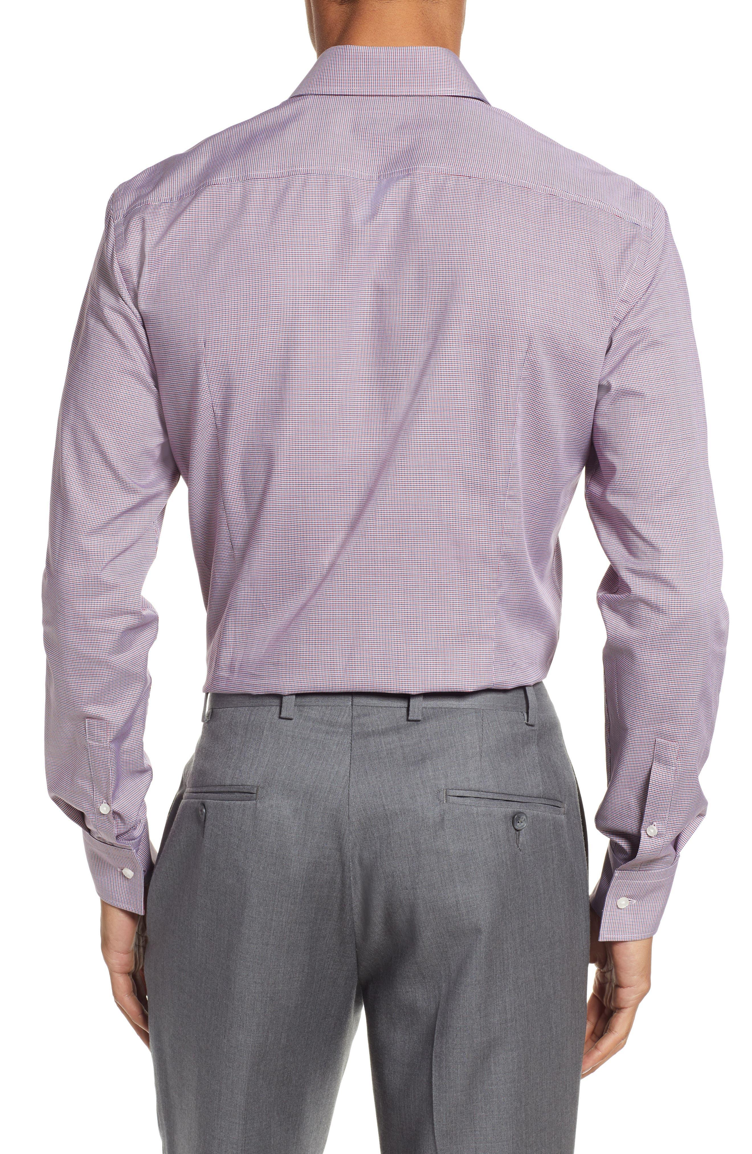 Jason Slim Fit Houndstooth Dress Shirt,                             Alternate thumbnail 3, color,                             RED