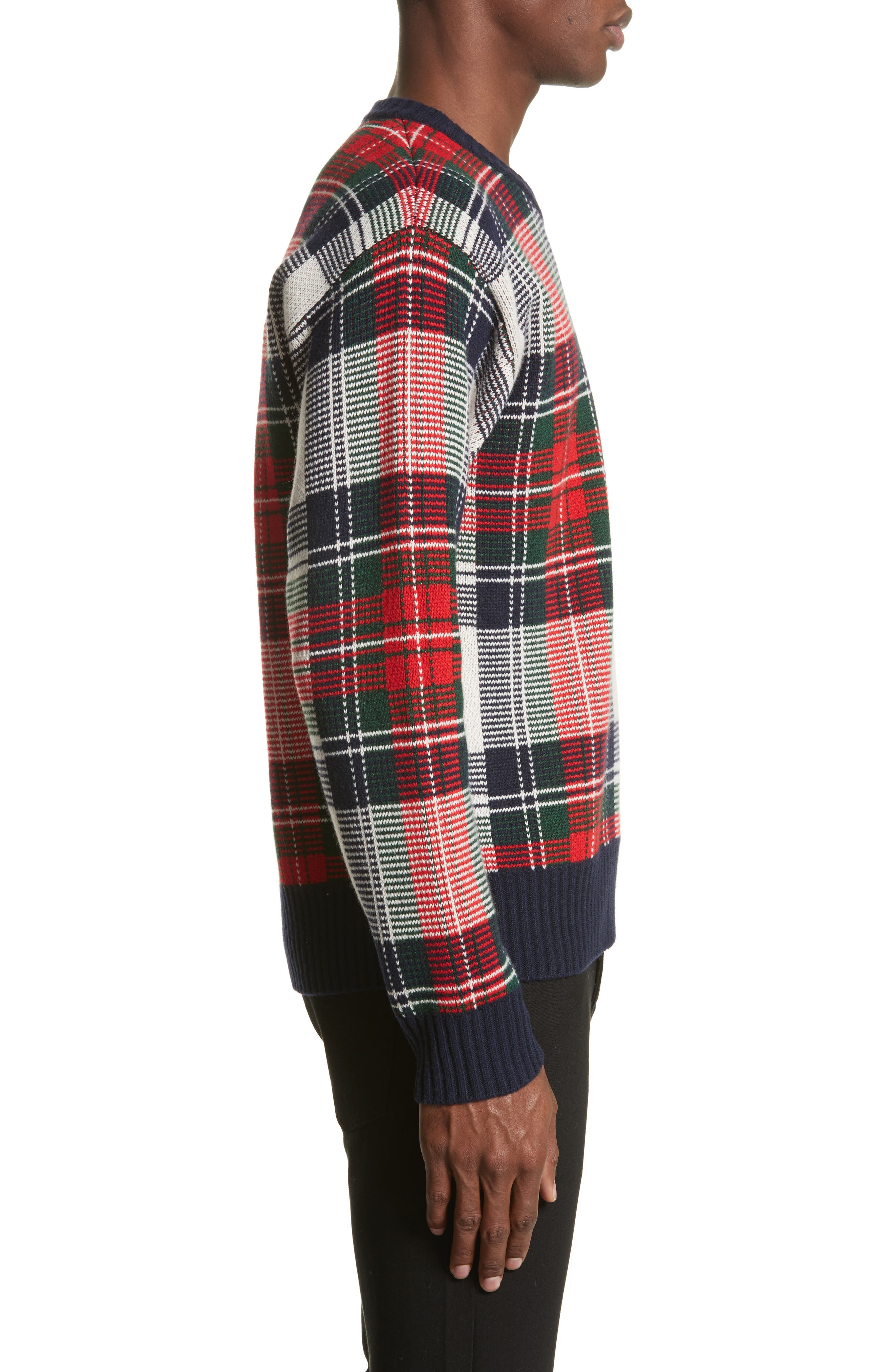 Plaid Cashmere & Wool Sweater,                             Alternate thumbnail 3, color,                             103