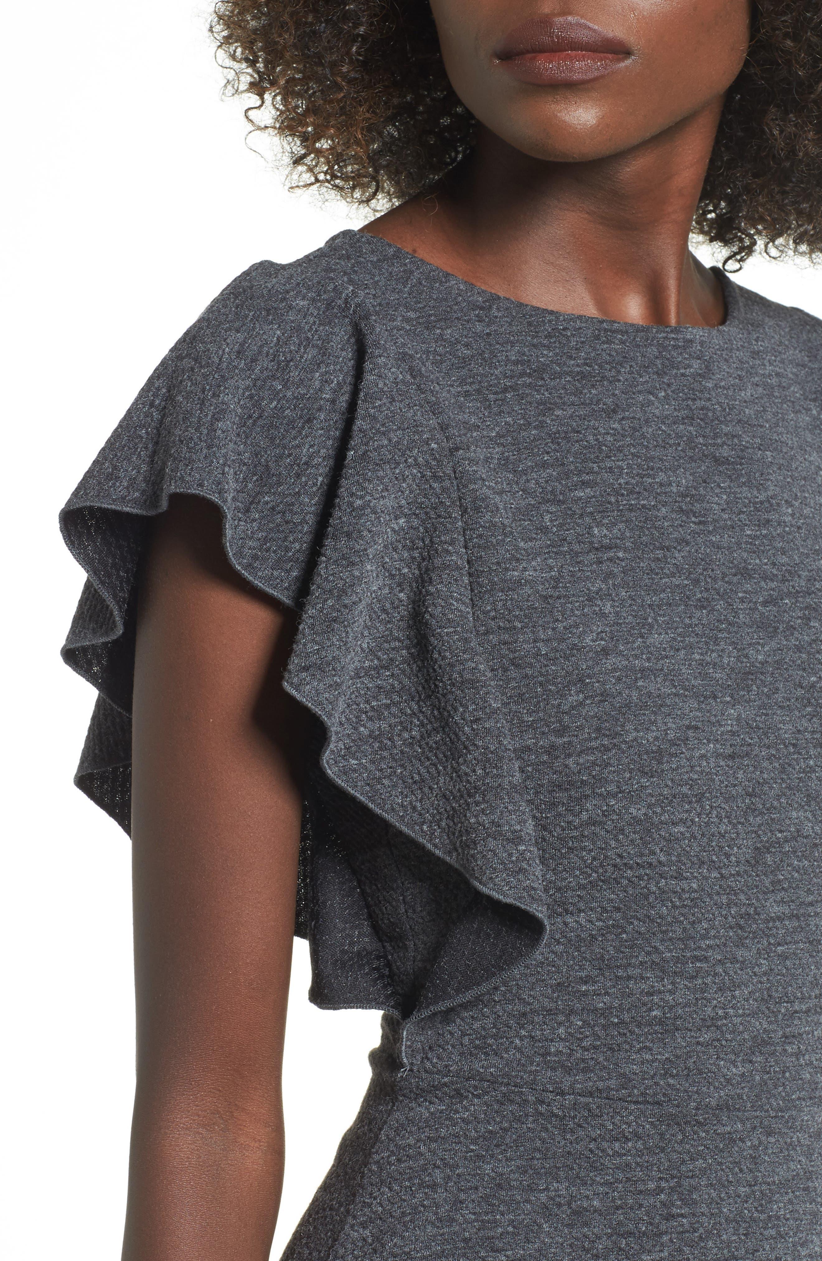 Ruffle Sleeve Knit Minidress,                             Alternate thumbnail 4, color,                             020
