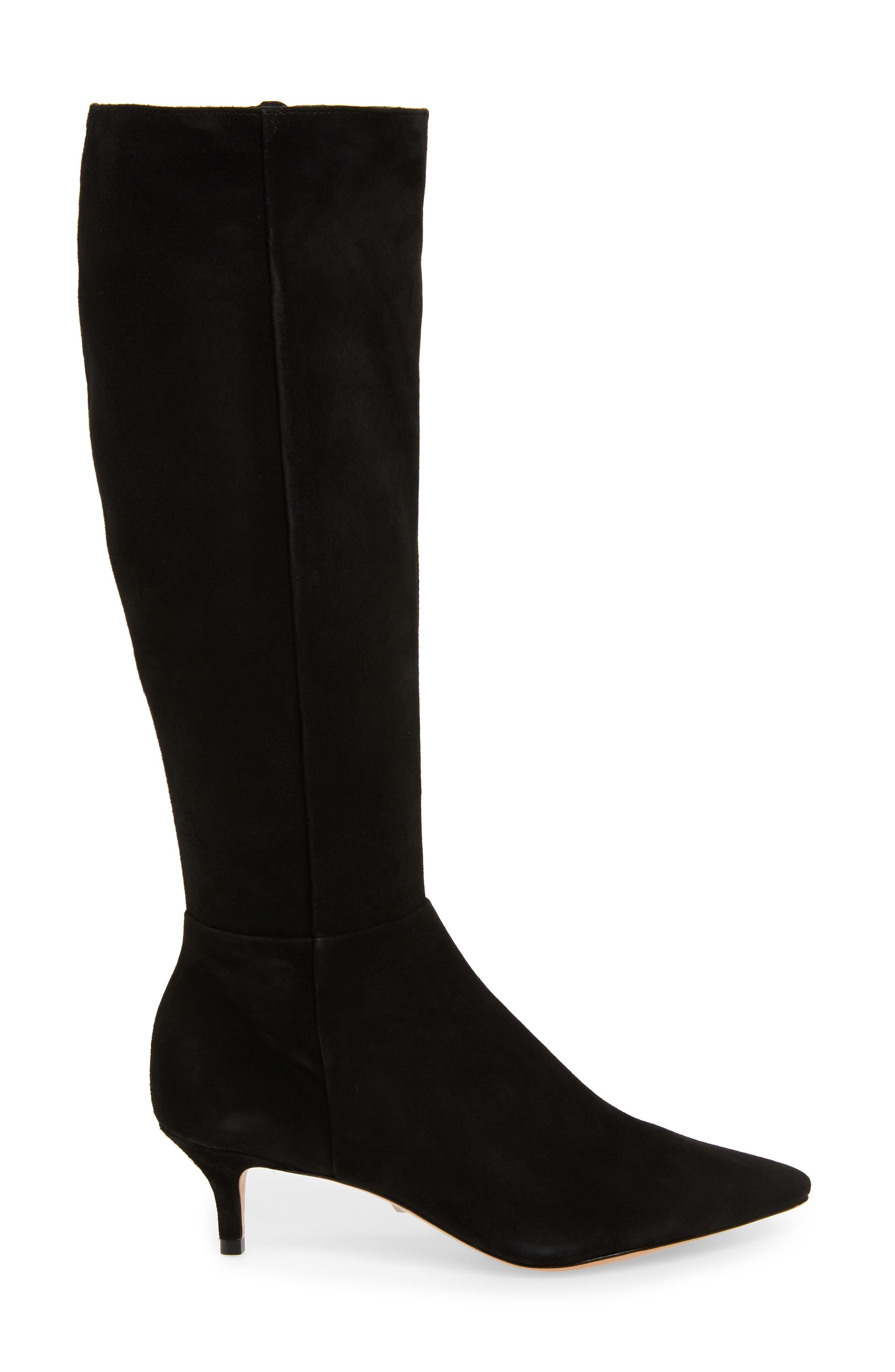 Knee High Boot,                             Alternate thumbnail 3, color,                             BLACK FABRIC