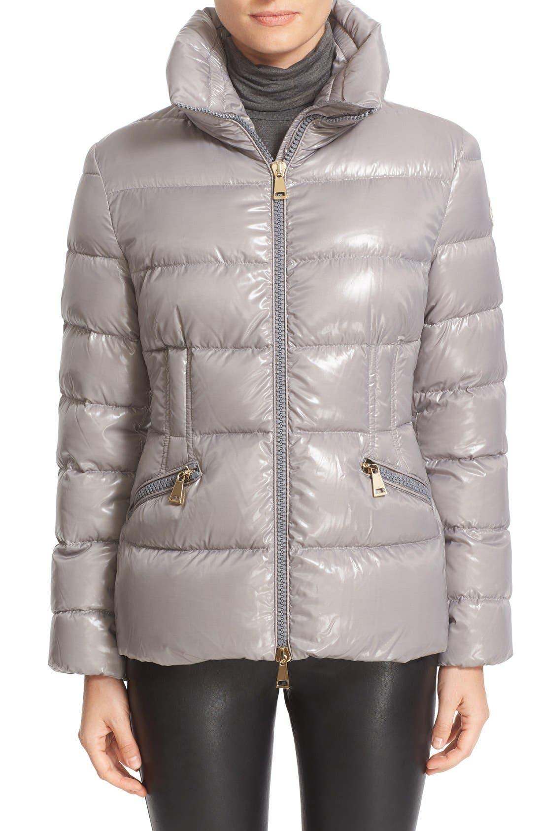 'Daphne' Water Resistant Short Shiny Nylon Jacket,                             Main thumbnail 1, color,                             024